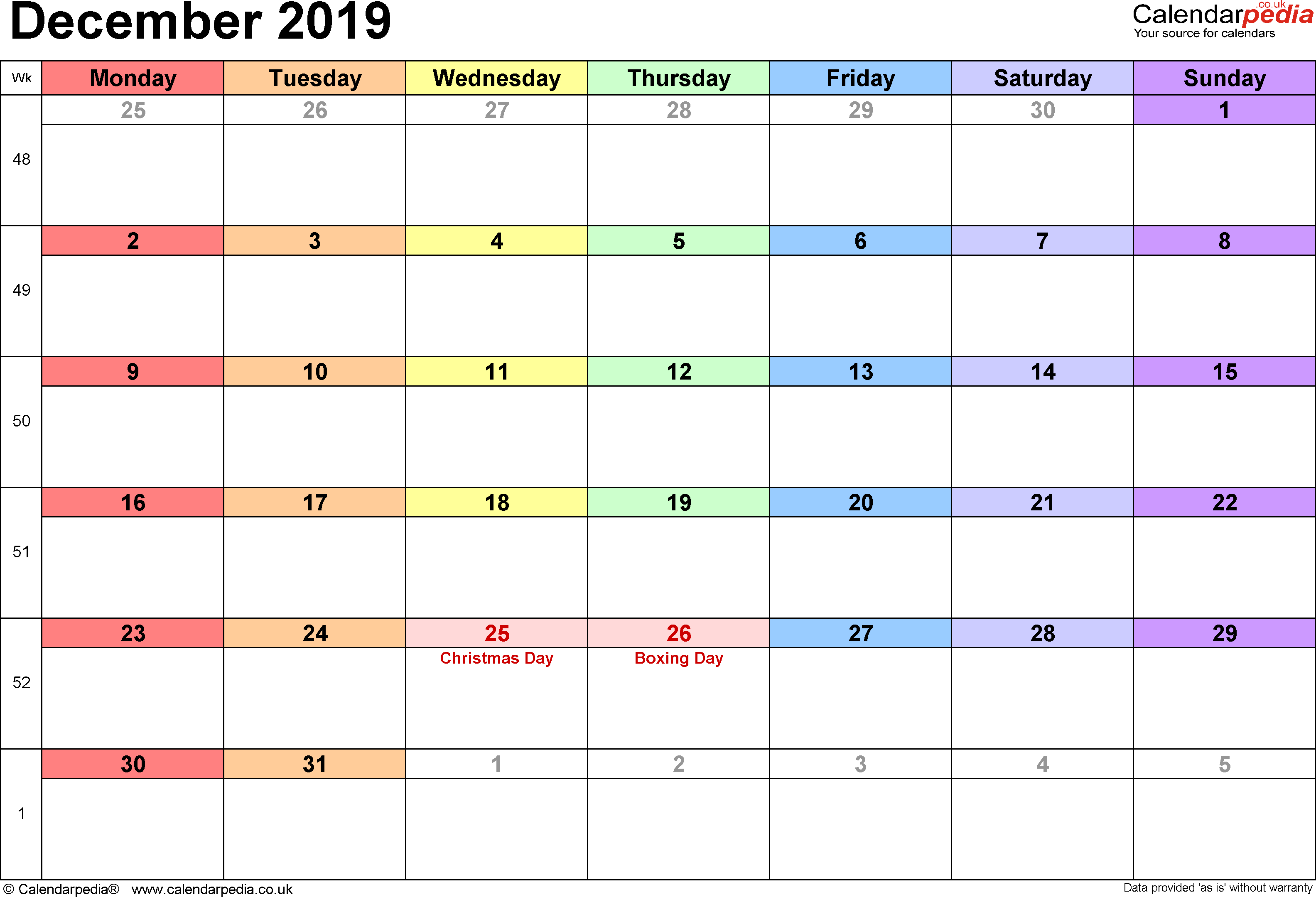 Calendar December 2019, landscape orientation, 1 page, with UK bank holidays and week numbers