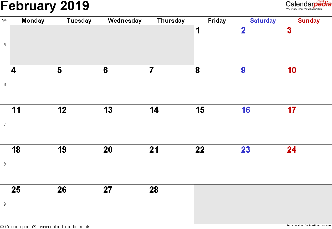 Calendar February 2019, landscape orientation, small numerals, 1 page, with UK bank holidays and week numbers