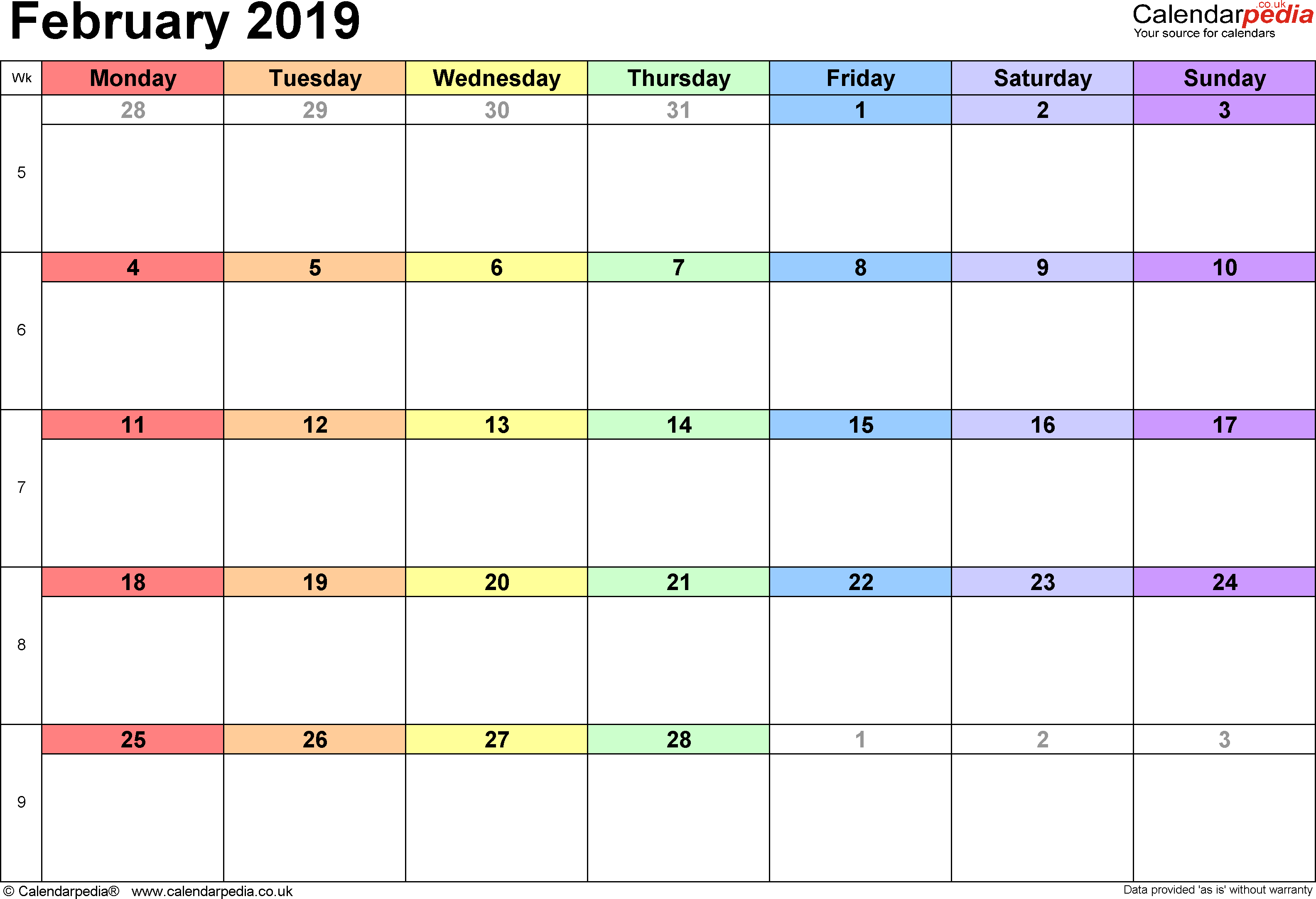 Calendar February 2019, landscape orientation, 1 page, with UK bank holidays and week numbers