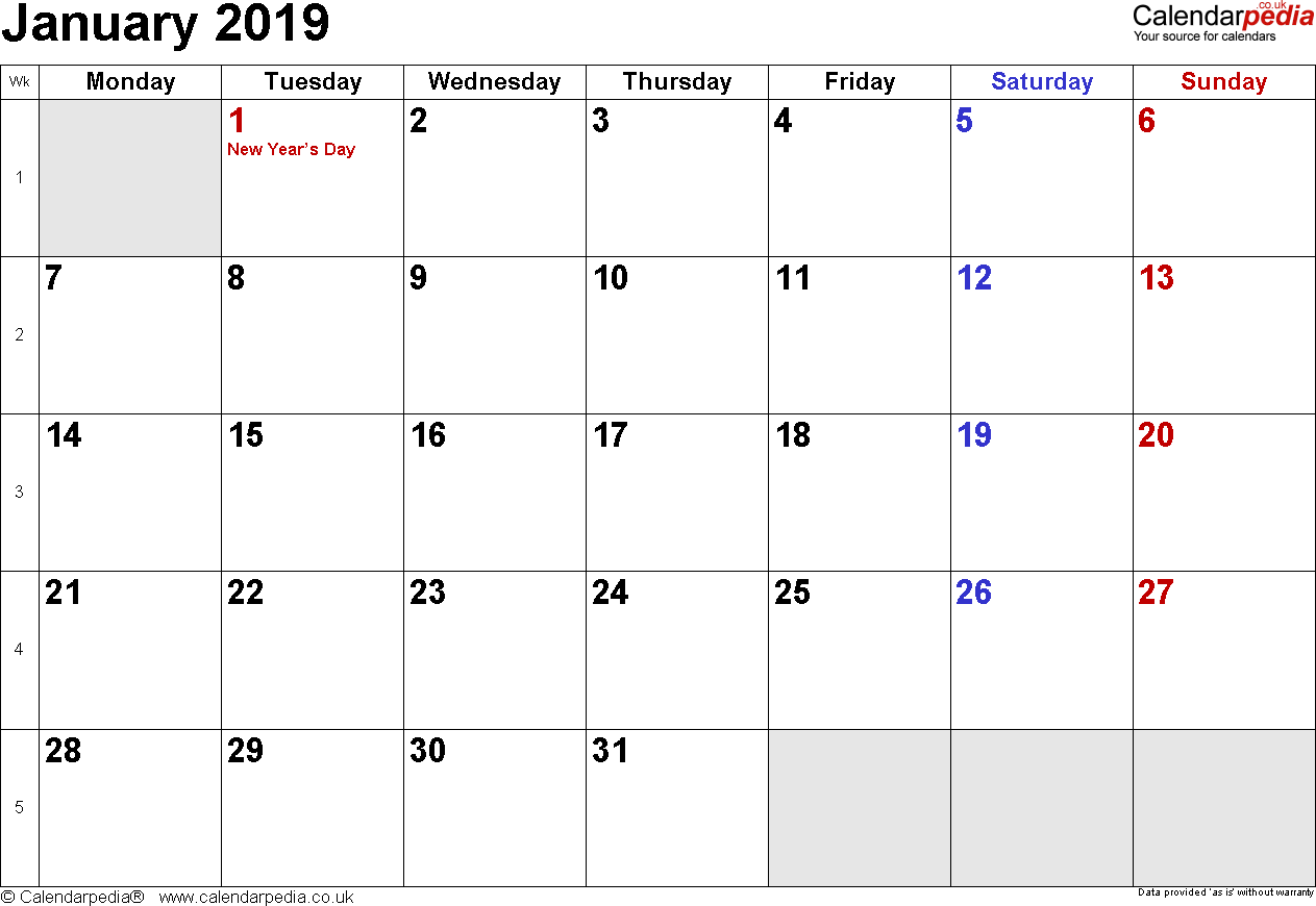 Calendar January 2019, landscape orientation, small numerals, 1 page, with UK bank holidays and week numbers