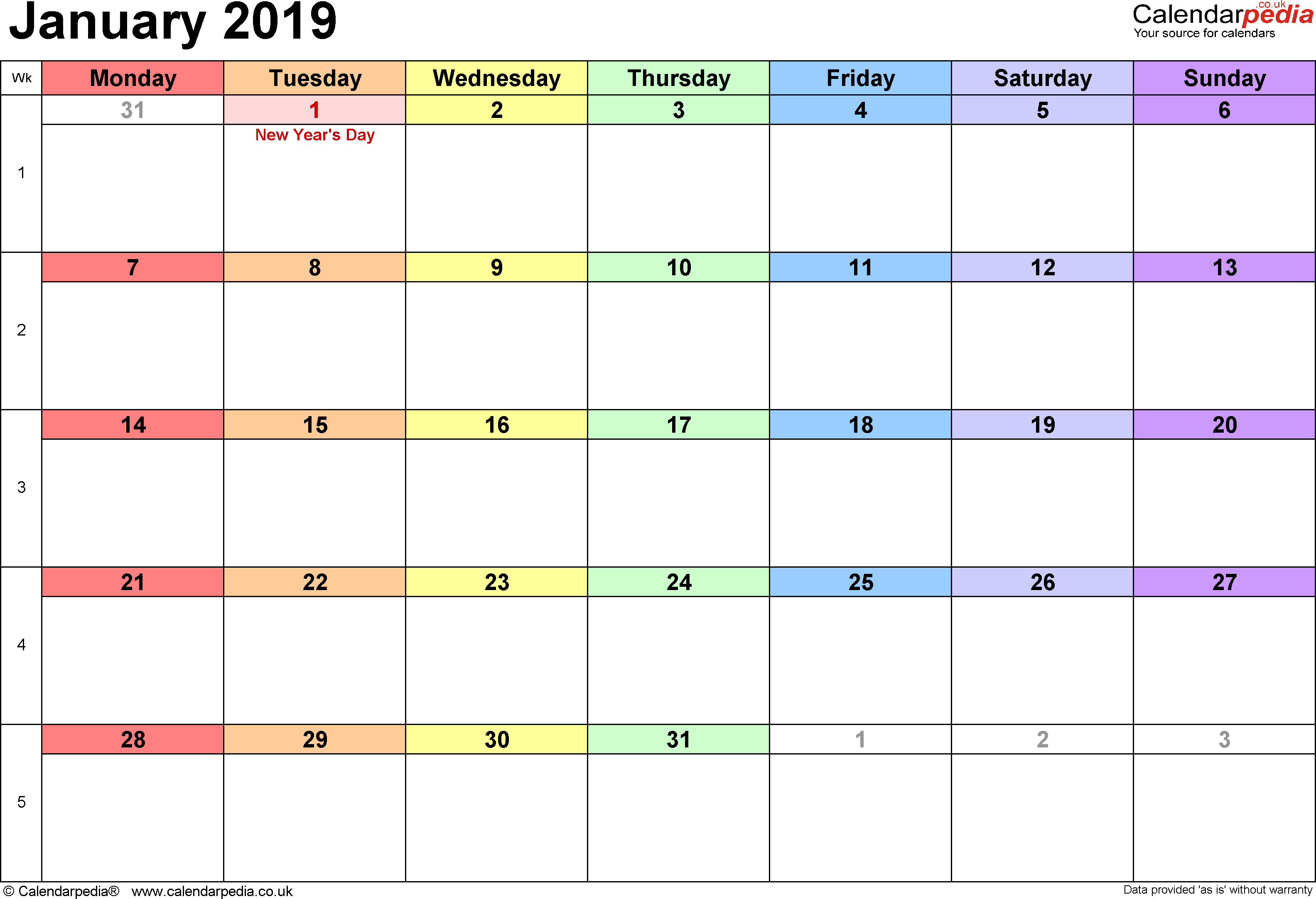 Calendar January 2019, landscape orientation, 1 page, with UK bank holidays and week numbers