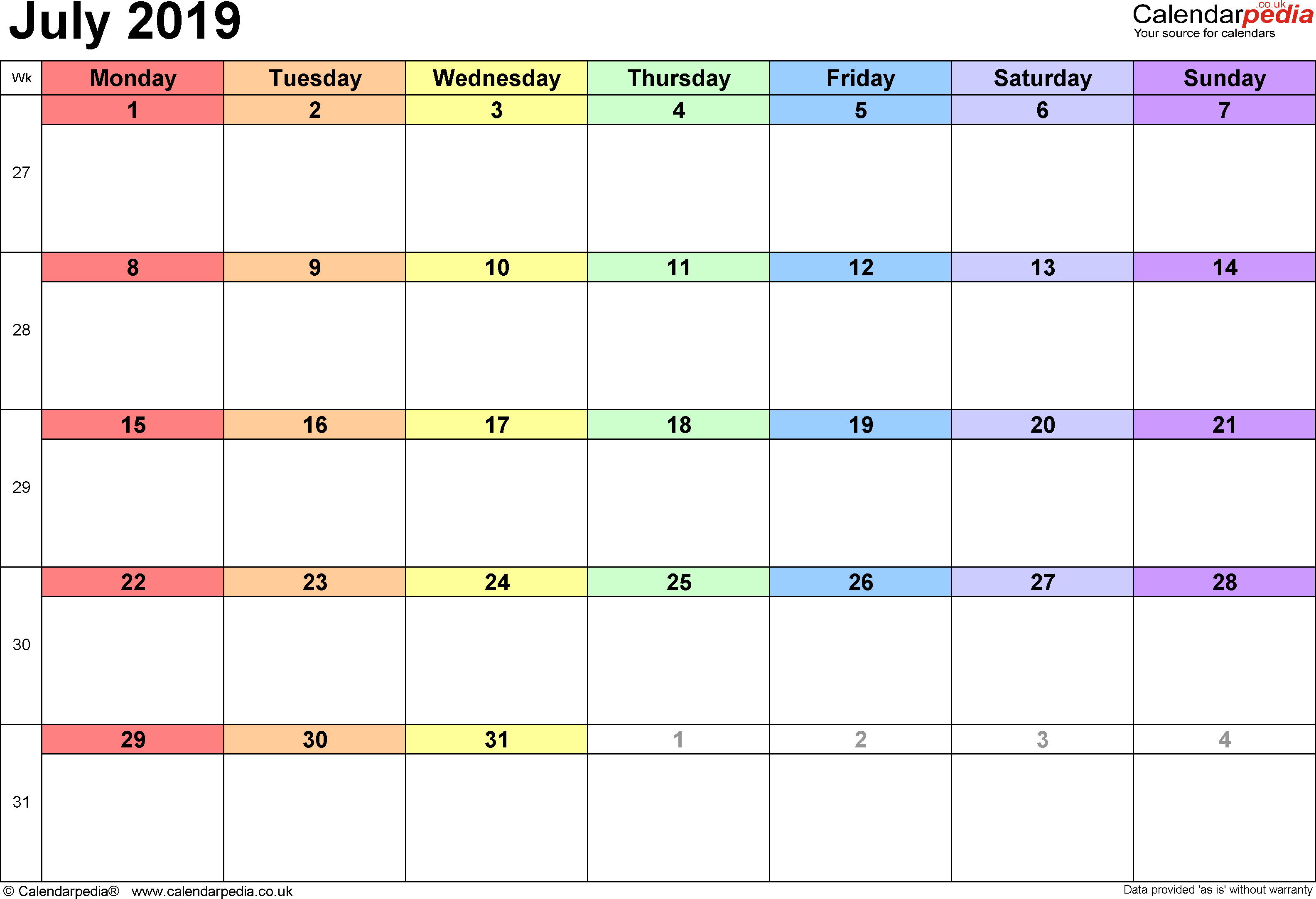 Calendar July 2019, landscape orientation, 1 page, with UK bank holidays and week numbers