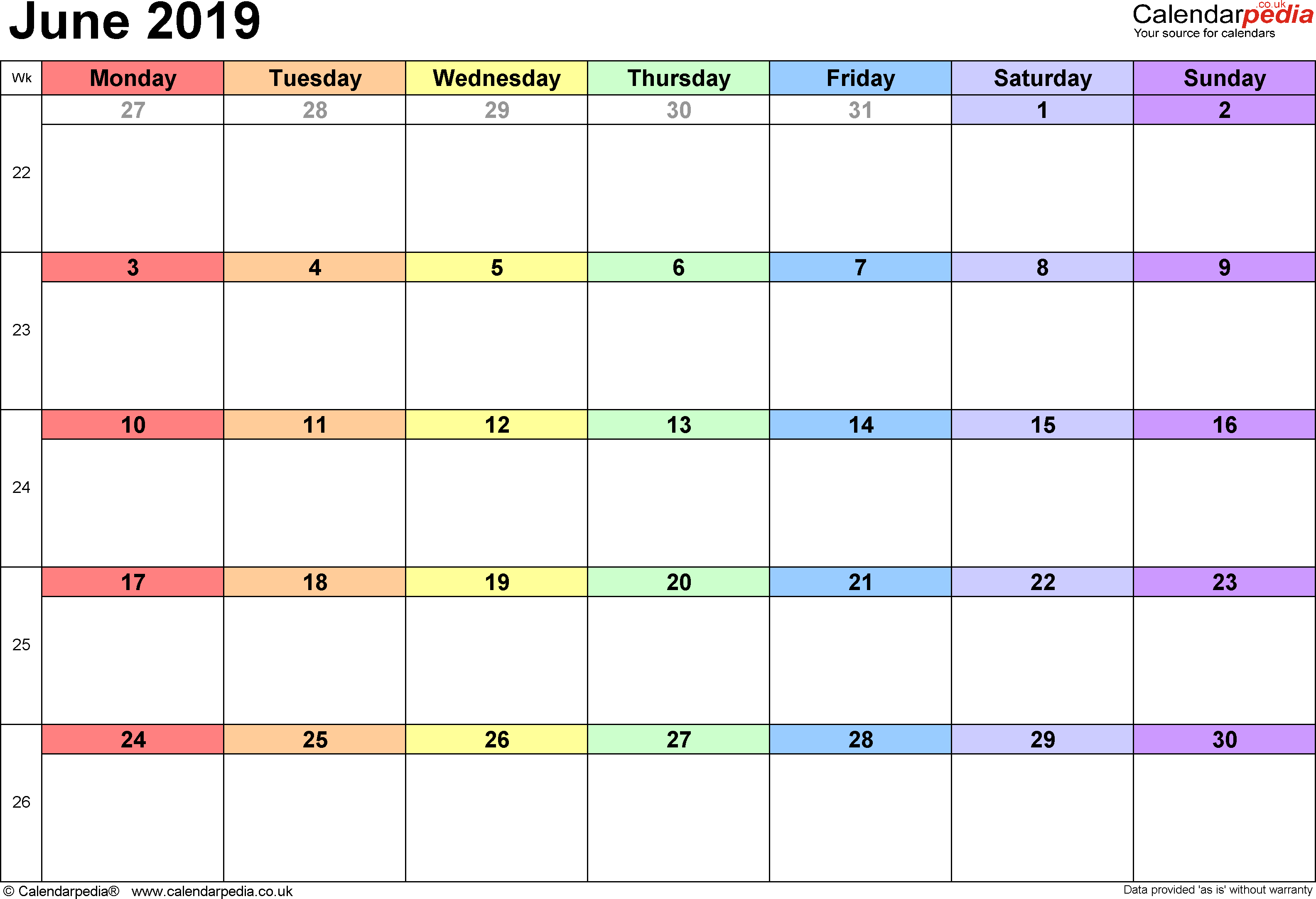 Calendar June 2019, landscape orientation, 1 page, with UK bank holidays and week numbers