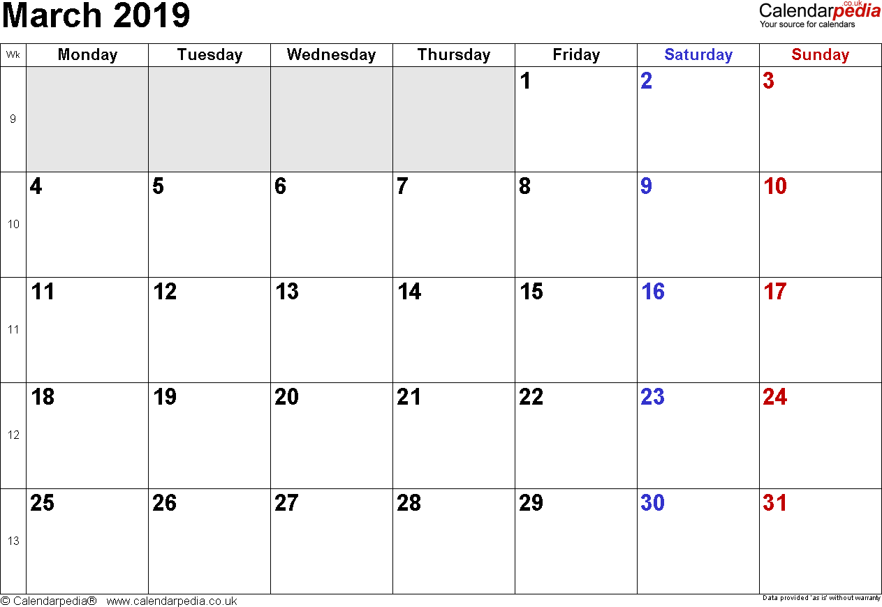 Calendar March 2019, landscape orientation, small numerals, 1 page, with UK bank holidays and week numbers