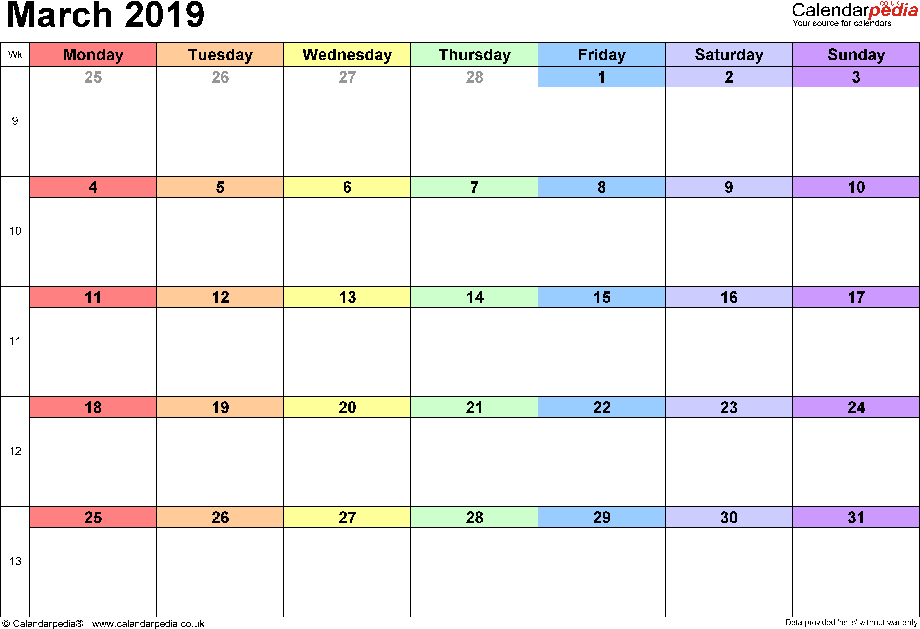 Calendar March 2019, landscape orientation, 1 page, with UK bank holidays and week numbers