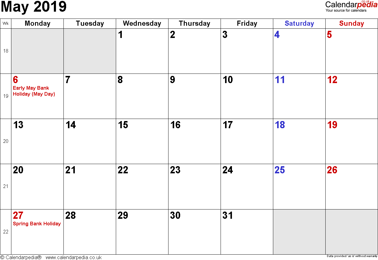 Calendar May 2019, landscape orientation, small numerals, 1 page, with UK bank holidays and week numbers