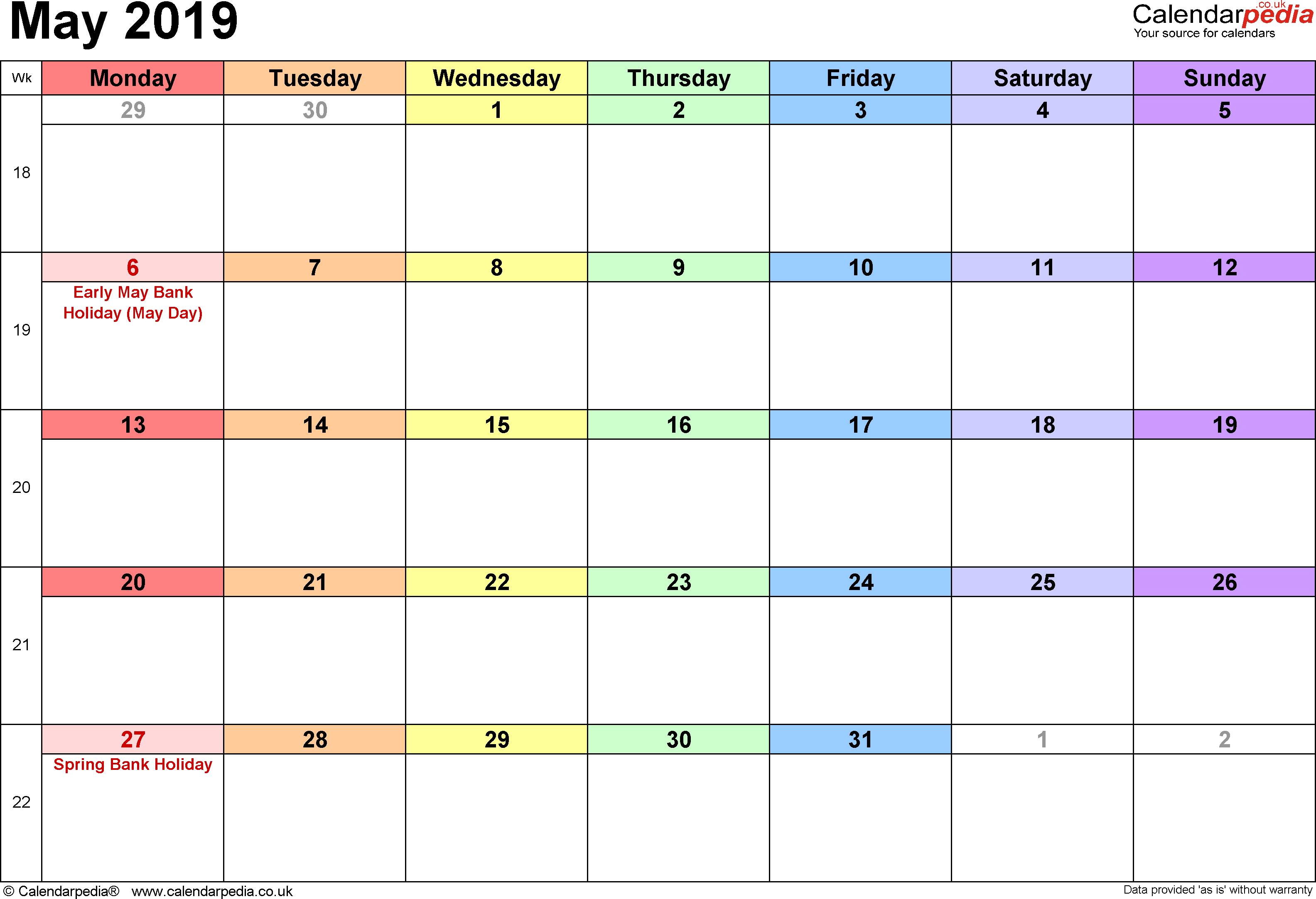 Calendar May 2019, landscape orientation, 1 page, with UK bank holidays and week numbers