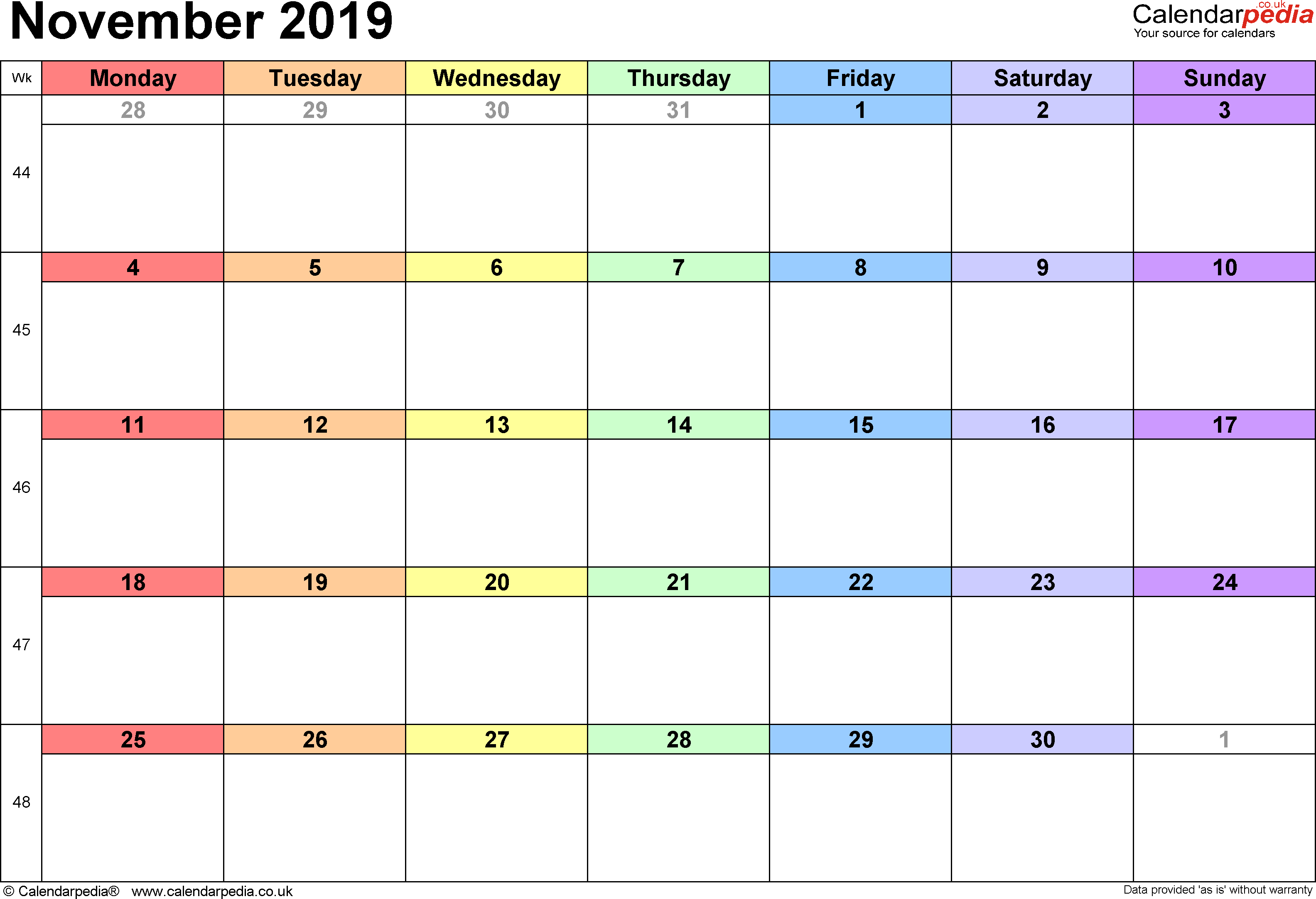 Calendar November 2019, landscape orientation, 1 page, with UK bank holidays and week numbers