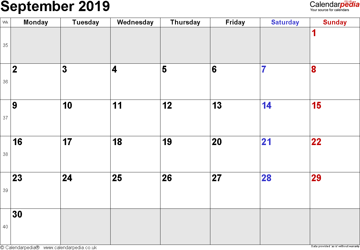 Calendar September 2019, landscape orientation, small numerals, 1 page, with UK bank holidays and week numbers
