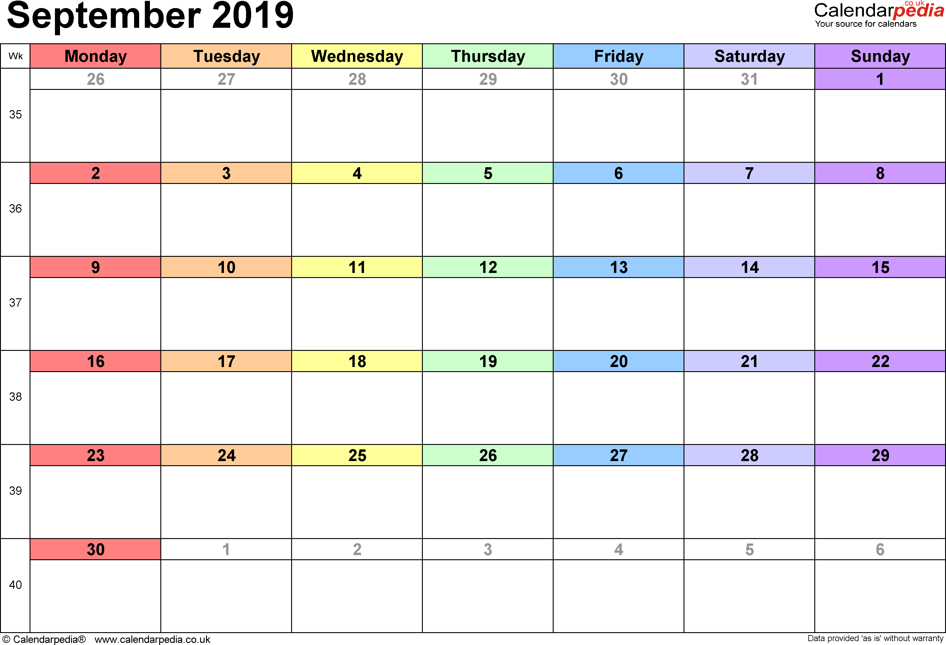 Calendar September 2019, landscape orientation, 1 page, with UK bank holidays and week numbers