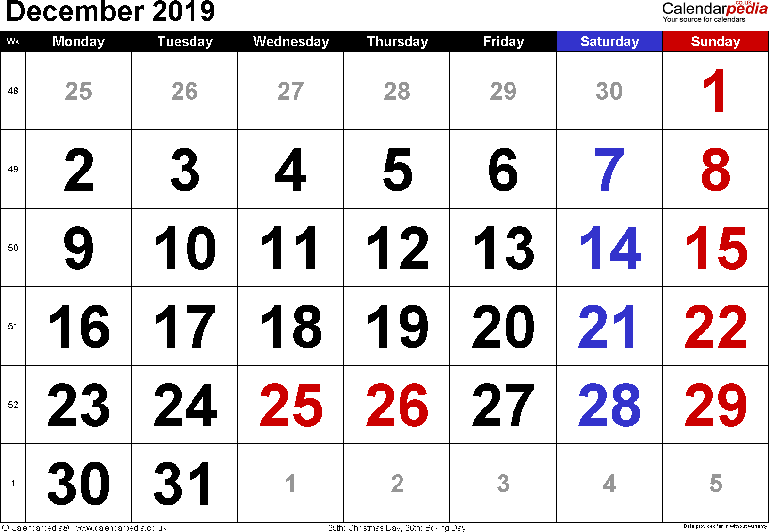 Calendar December 2019, landscape orientation, large numerals, 1 page, with UK bank holidays and week numbers