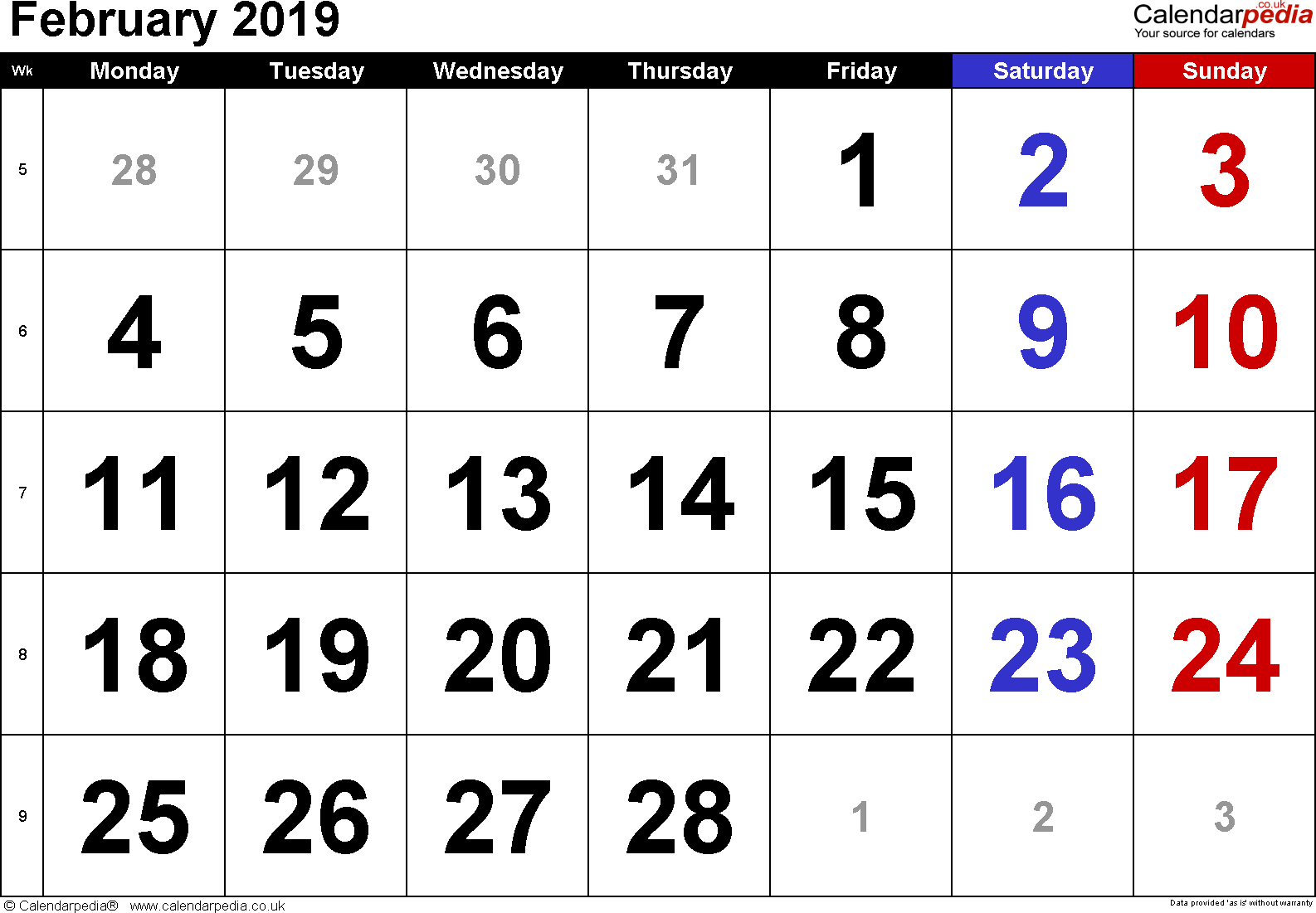 Calendar February 2019, landscape orientation, large numerals, 1 page, with UK bank holidays and week numbers