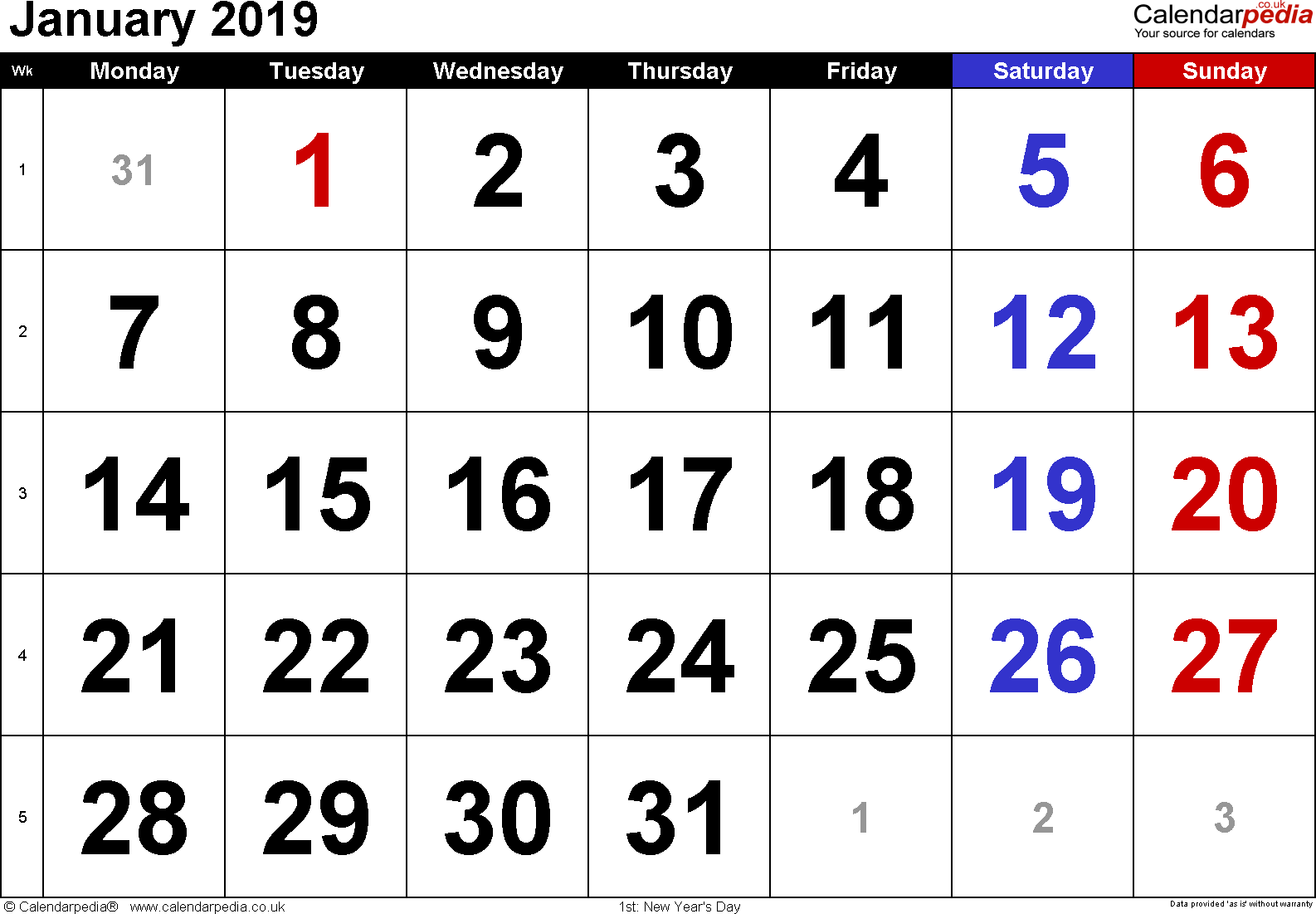 Calendar January 2019, landscape orientation, large numerals, 1 page, with UK bank holidays and week numbers