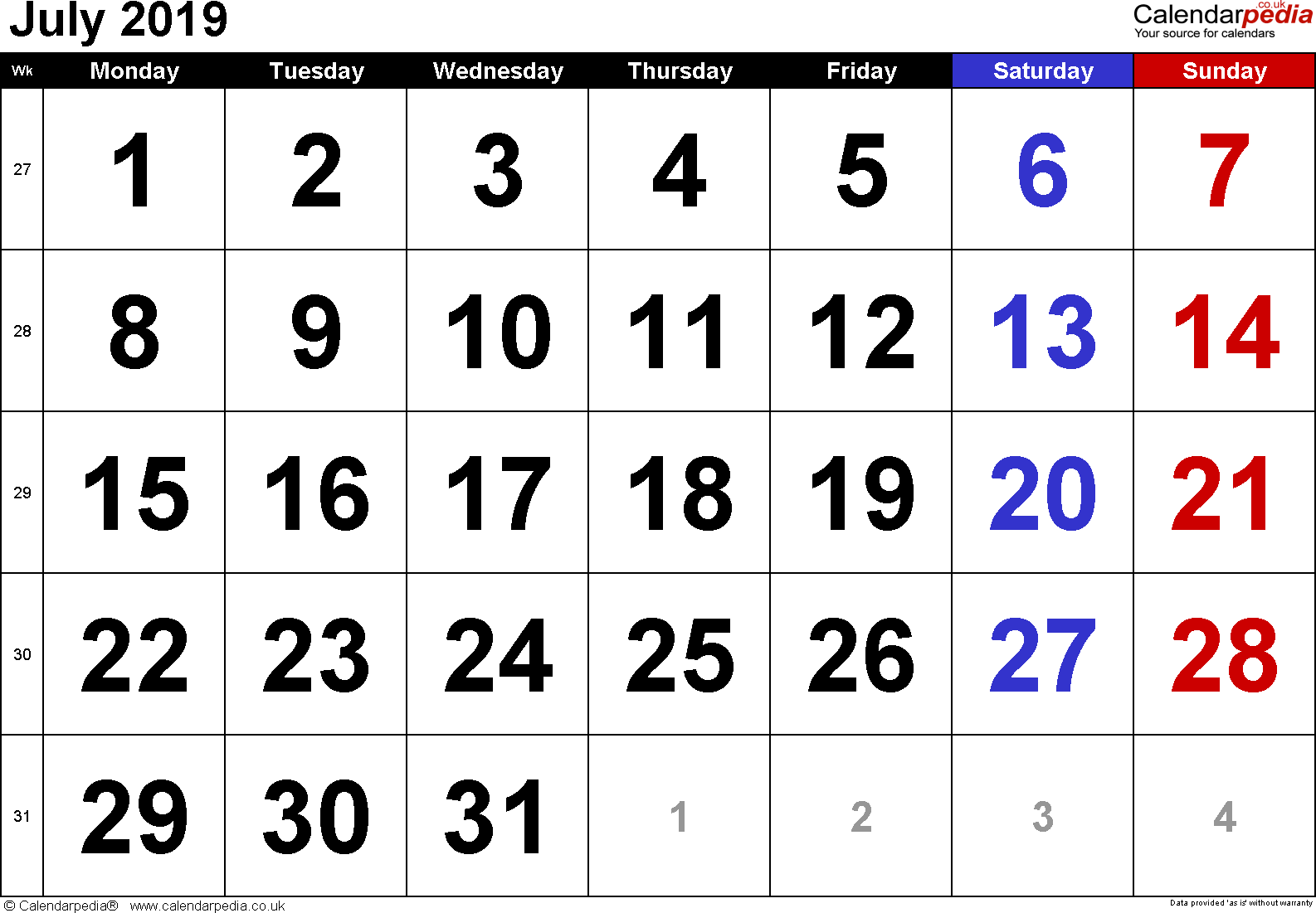 Calendar July 2019, landscape orientation, large numerals, 1 page, with UK bank holidays and week numbers