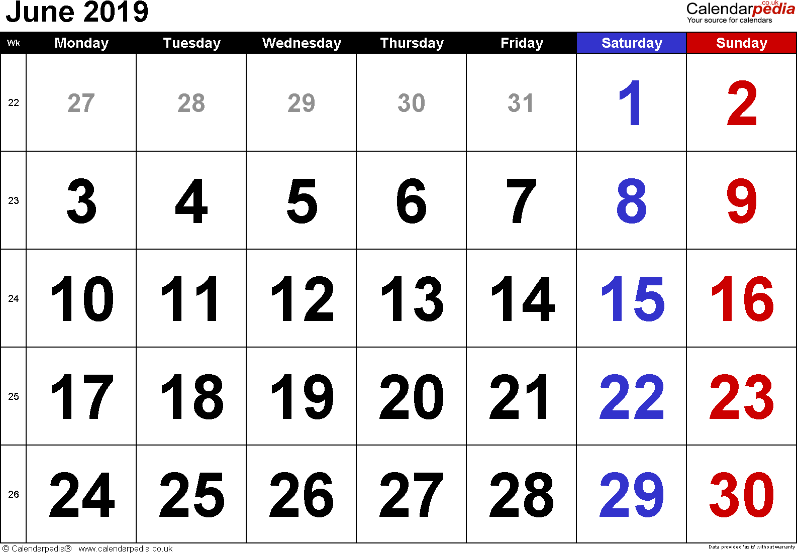 Calendar June 2019, landscape orientation, large numerals, 1 page, with UK bank holidays and week numbers