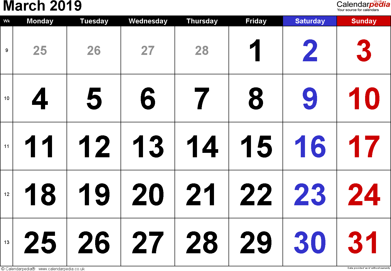 Calendar March 2019, landscape orientation, large numerals, 1 page, with UK bank holidays and week numbers