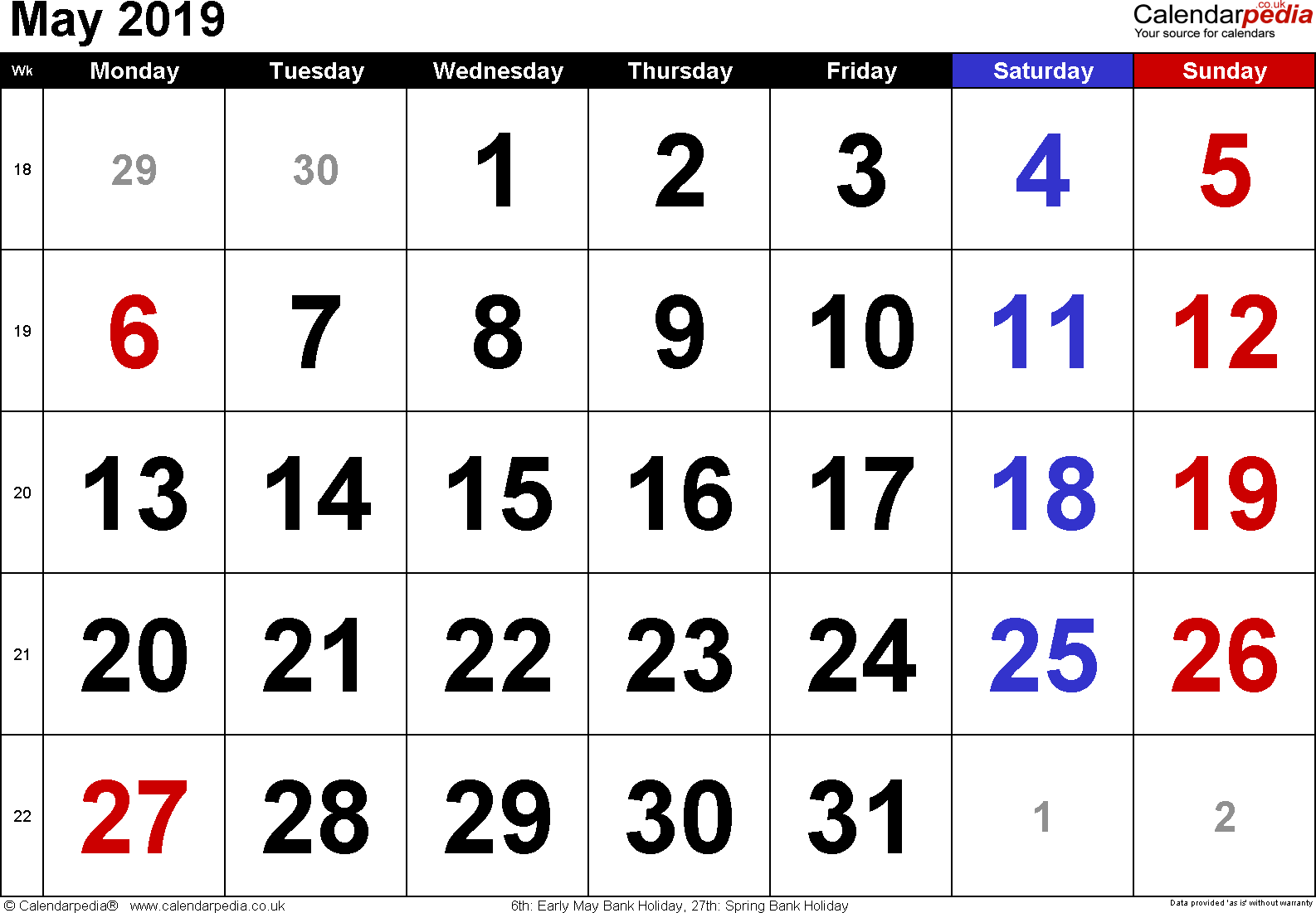 Calendar May 2019, landscape orientation, large numerals, 1 page, with UK bank holidays and week numbers