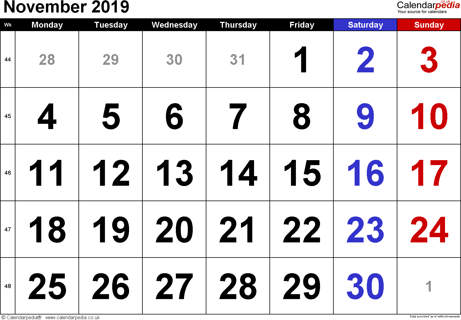 Calendar November 2019, landscape orientation, large numerals, 1 page, with UK bank holidays and week numbers