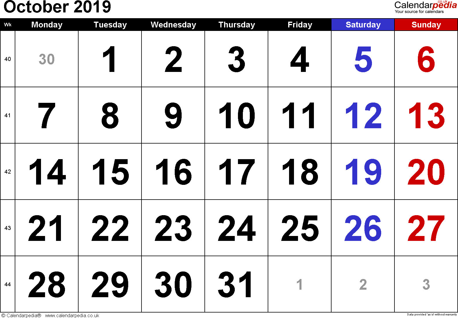 Calendar October 2019, landscape orientation, large numerals, 1 page, with UK bank holidays and week numbers