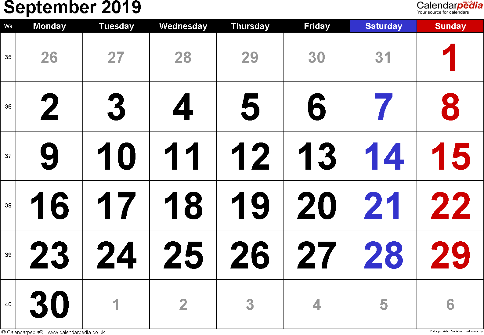 Calendar September 2019, landscape orientation, large numerals, 1 page, with UK bank holidays and week numbers