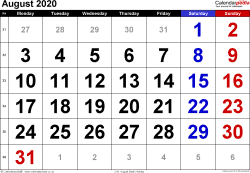 Calendar August 2020, landscape orientation, large numerals, 1 page, with UK bank holidays and week numbers