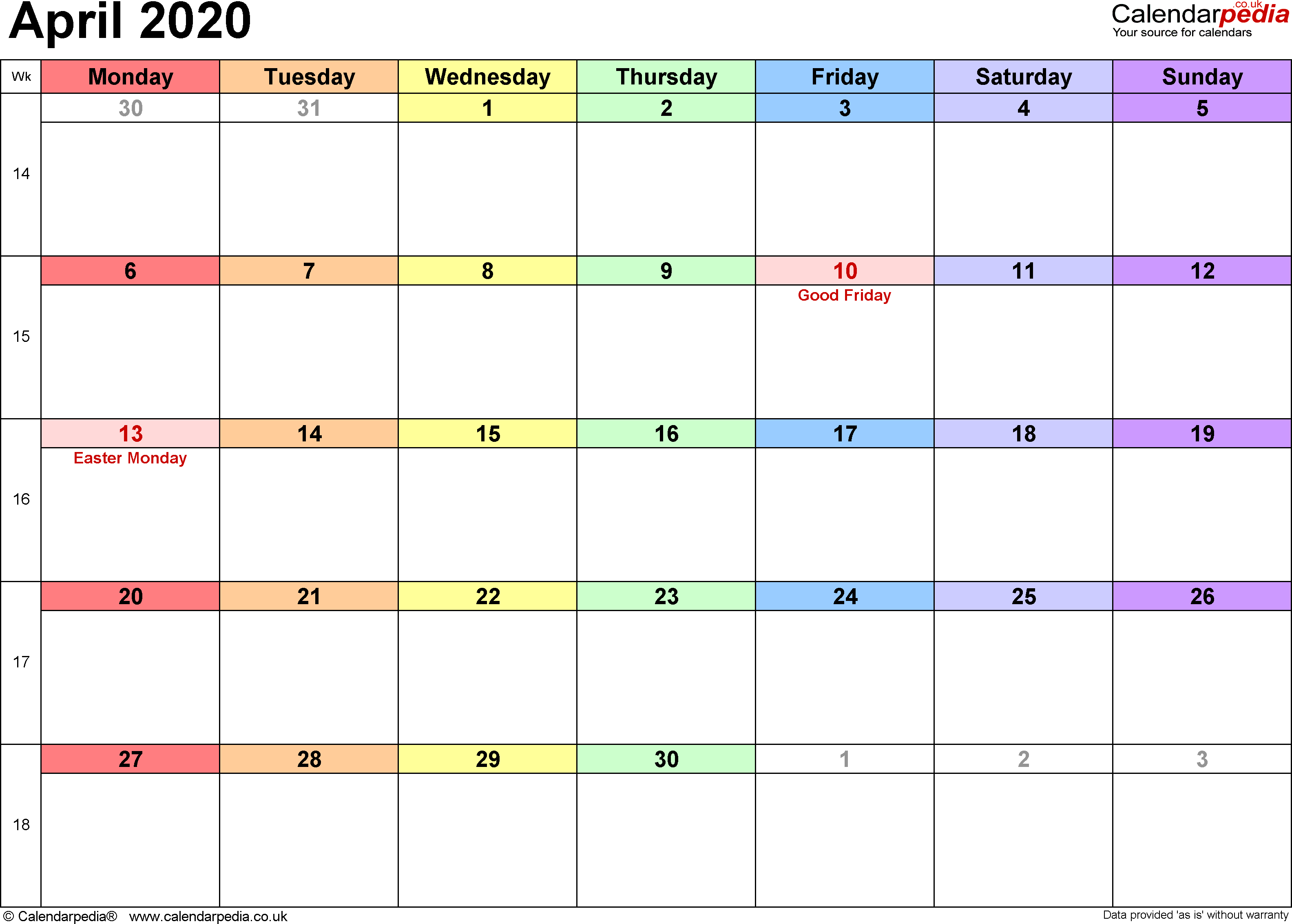 Calendar April 2020, landscape orientation, 1 page, with UK bank holidays and week numbers