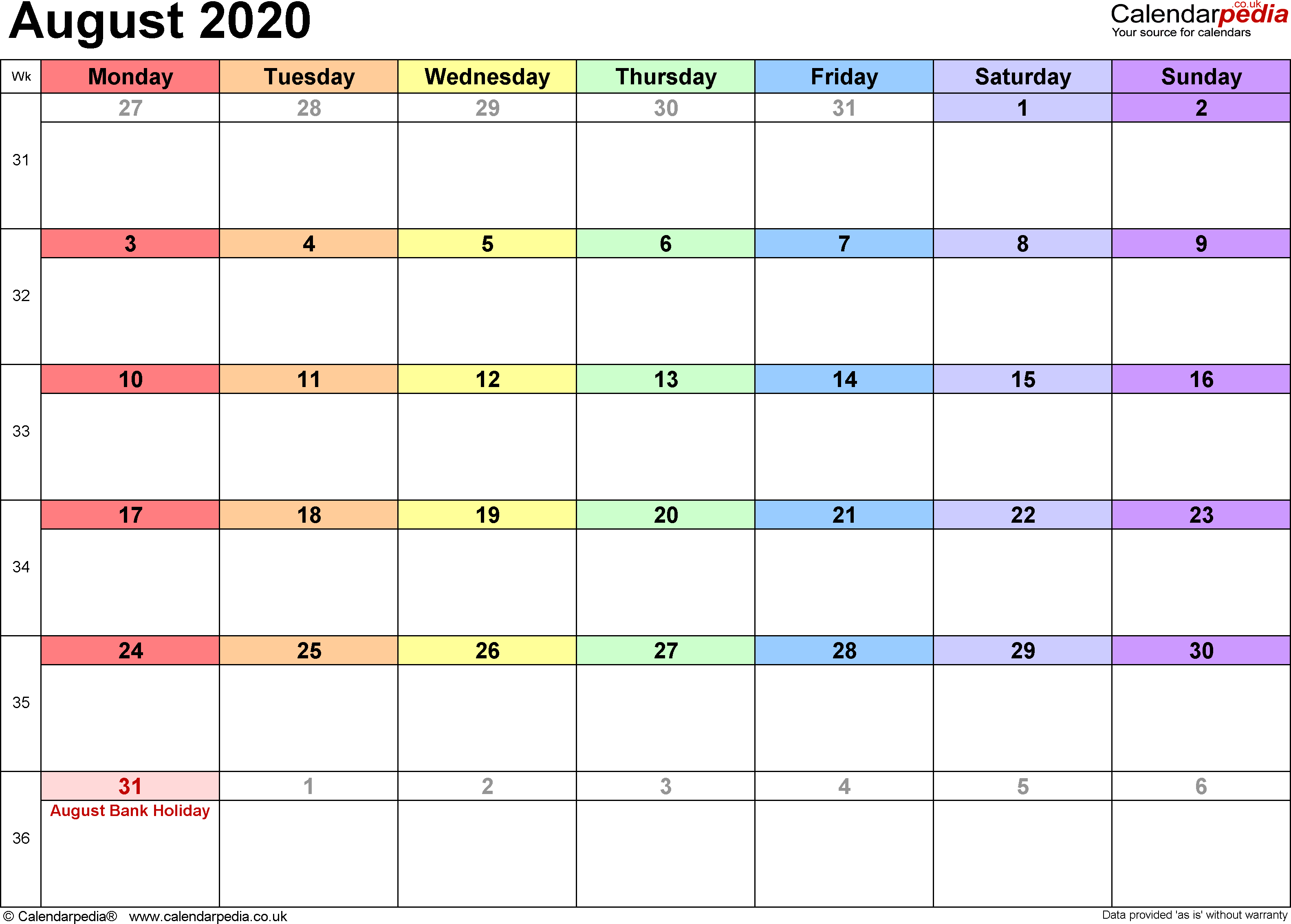 Calendar August 2020, landscape orientation, 1 page, with UK bank holidays and week numbers