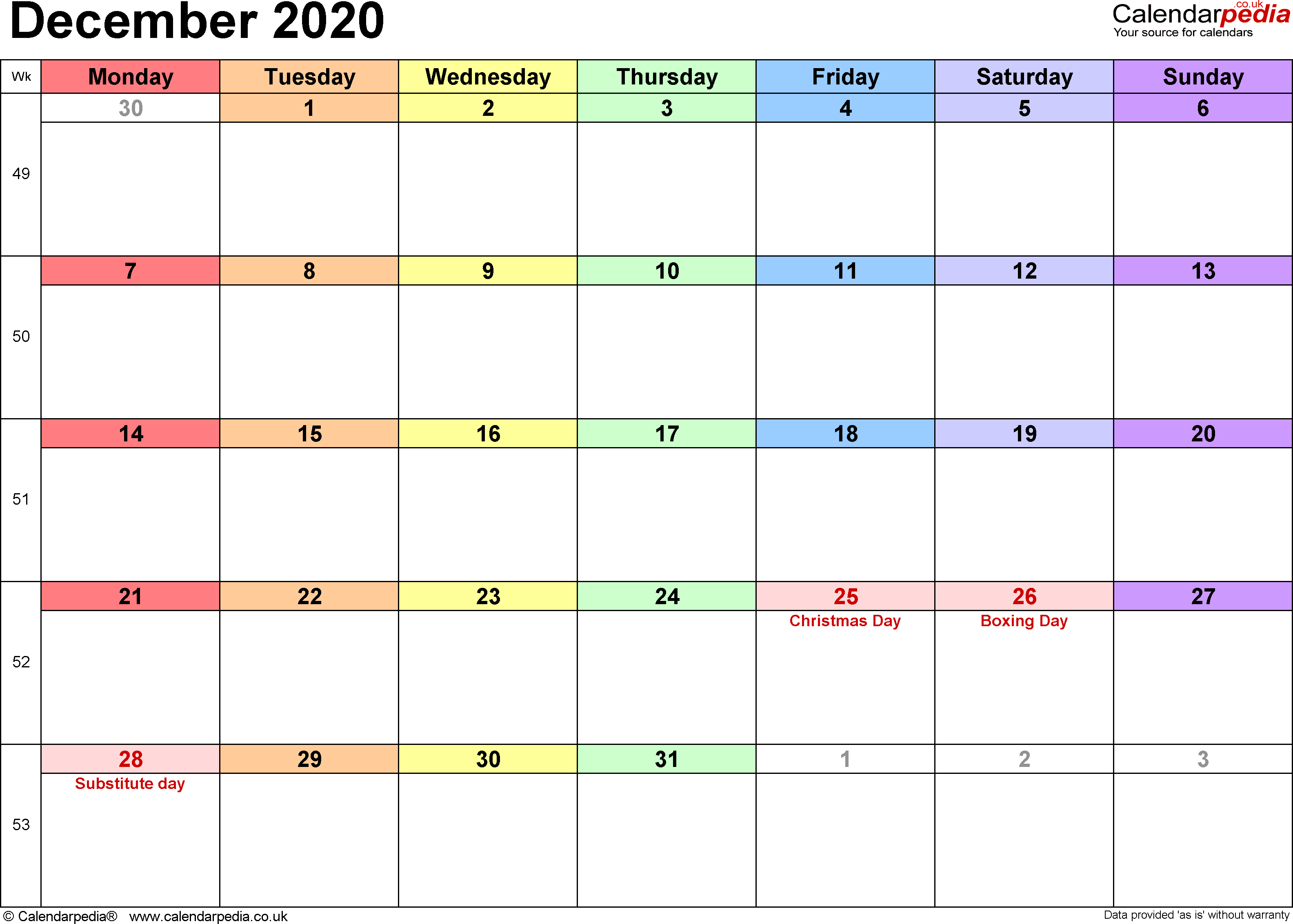 Calendar December 2020, landscape orientation, 1 page, with UK bank holidays and week numbers