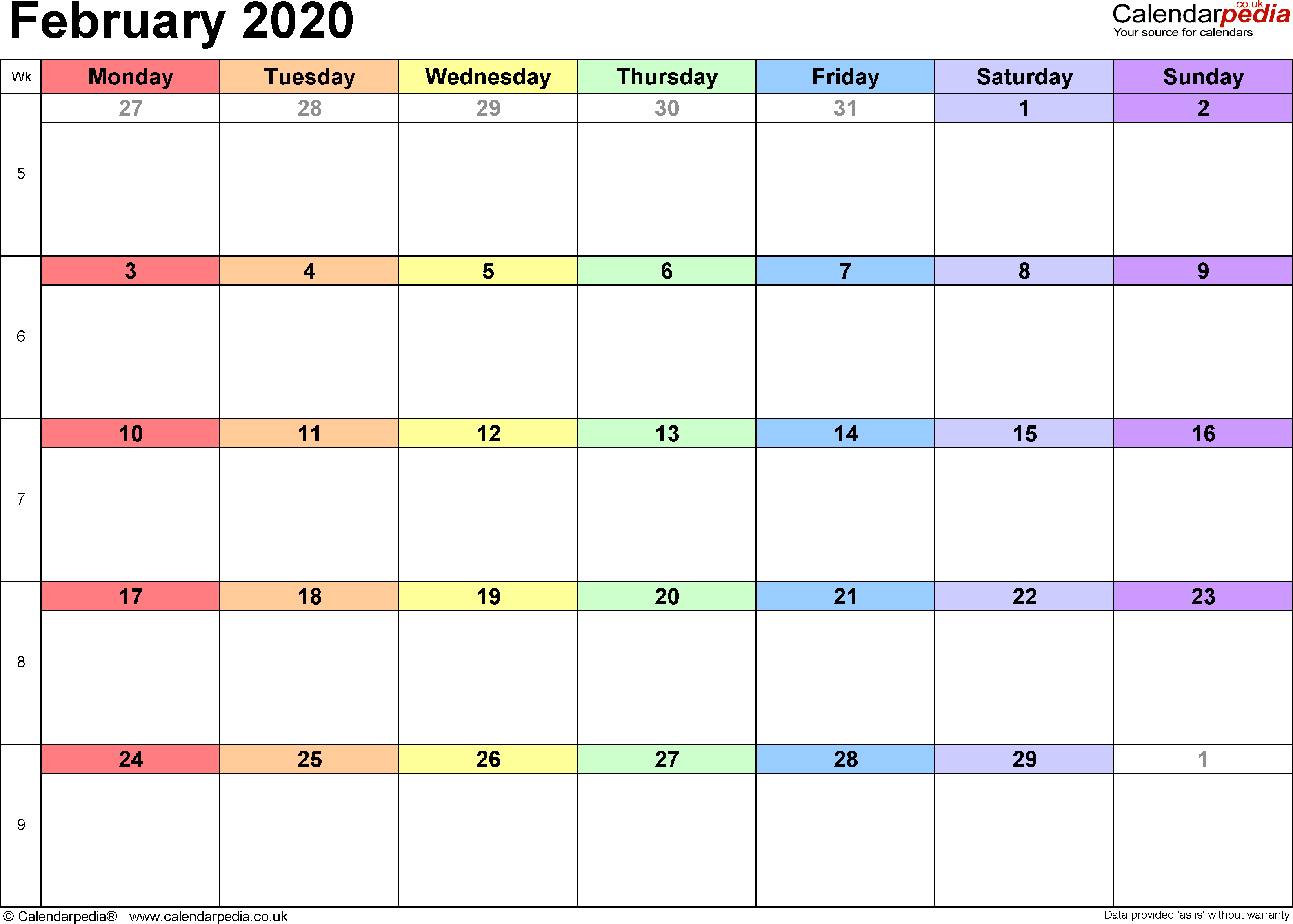 Calendar February 2020, landscape orientation, 1 page, with UK bank holidays and week numbers