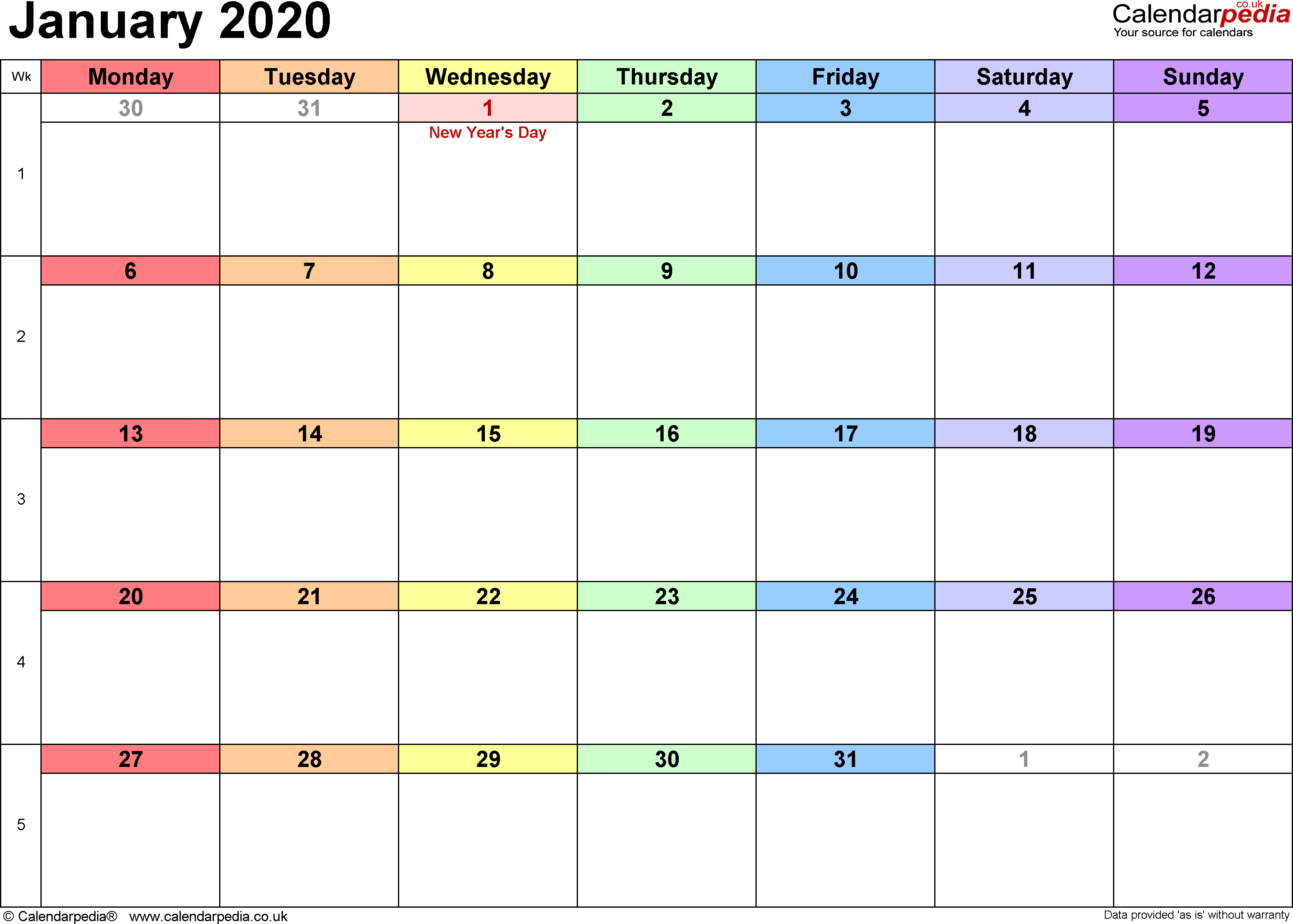 Calendar January 2020 UK, Bank Holidays, Excel/PDF/Word ...