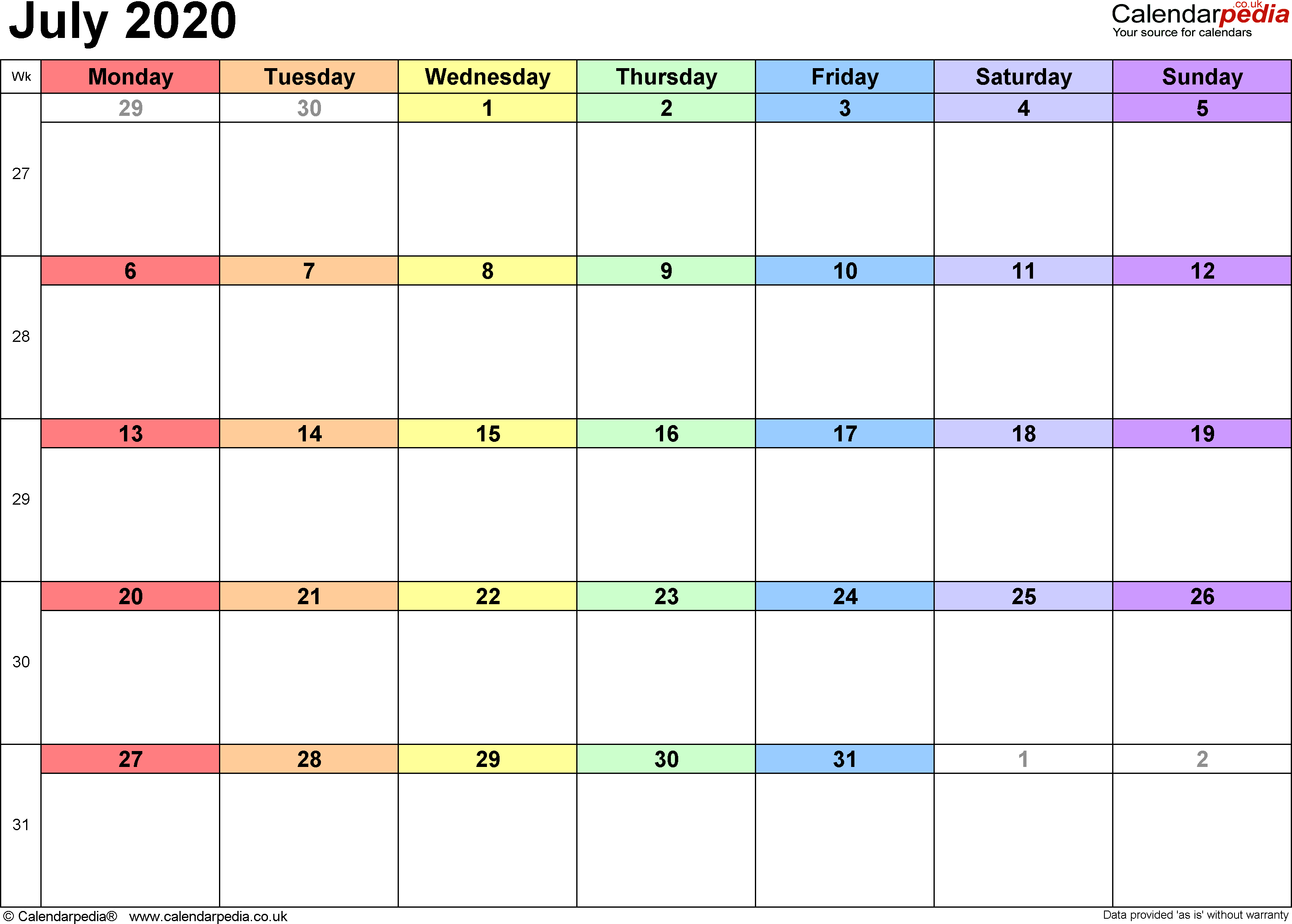 Calendar July 2020, landscape orientation, 1 page, with UK bank holidays and week numbers