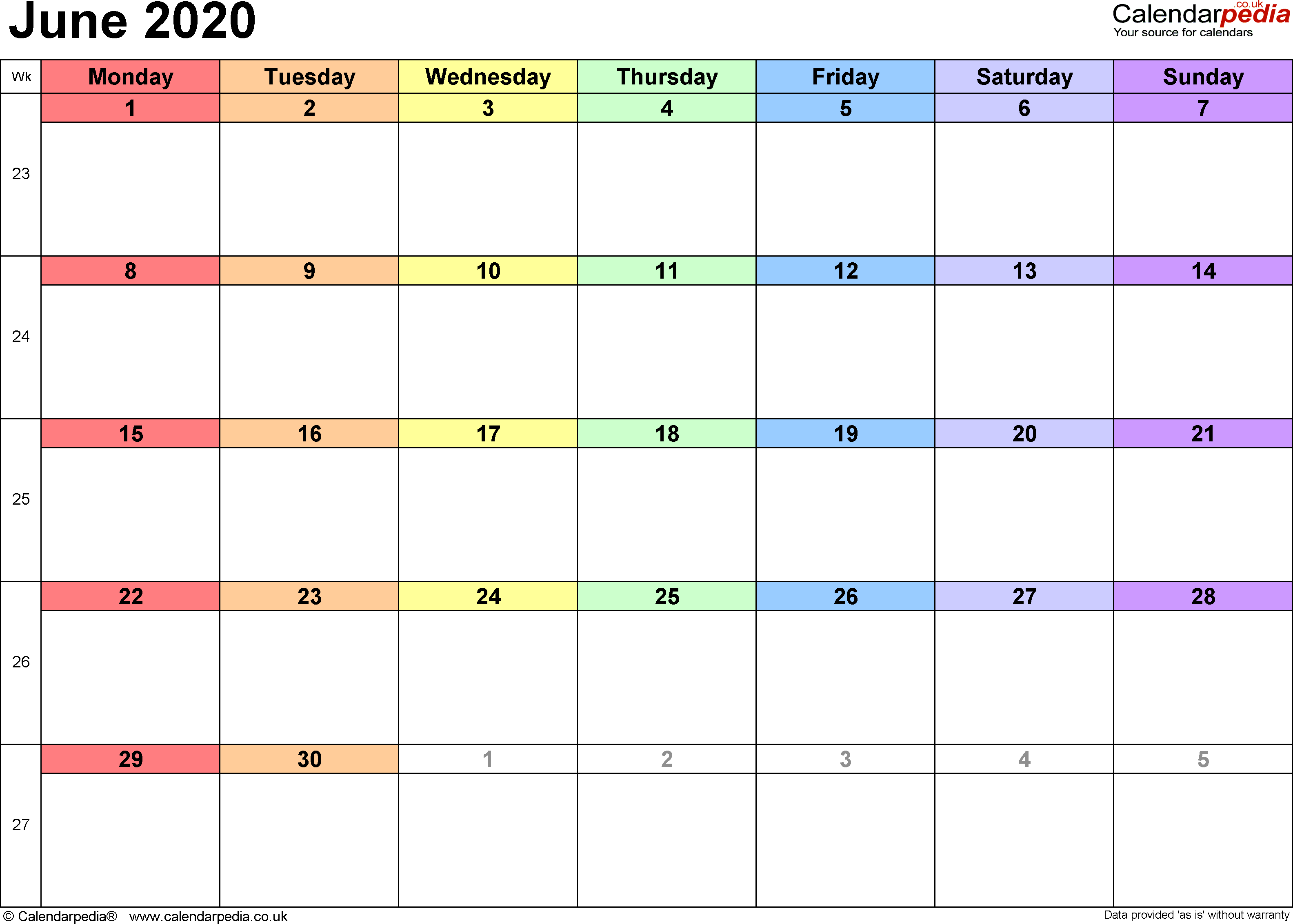 Calendar June 2020 Uk Bank Holidays Excel Pdf Word Templates