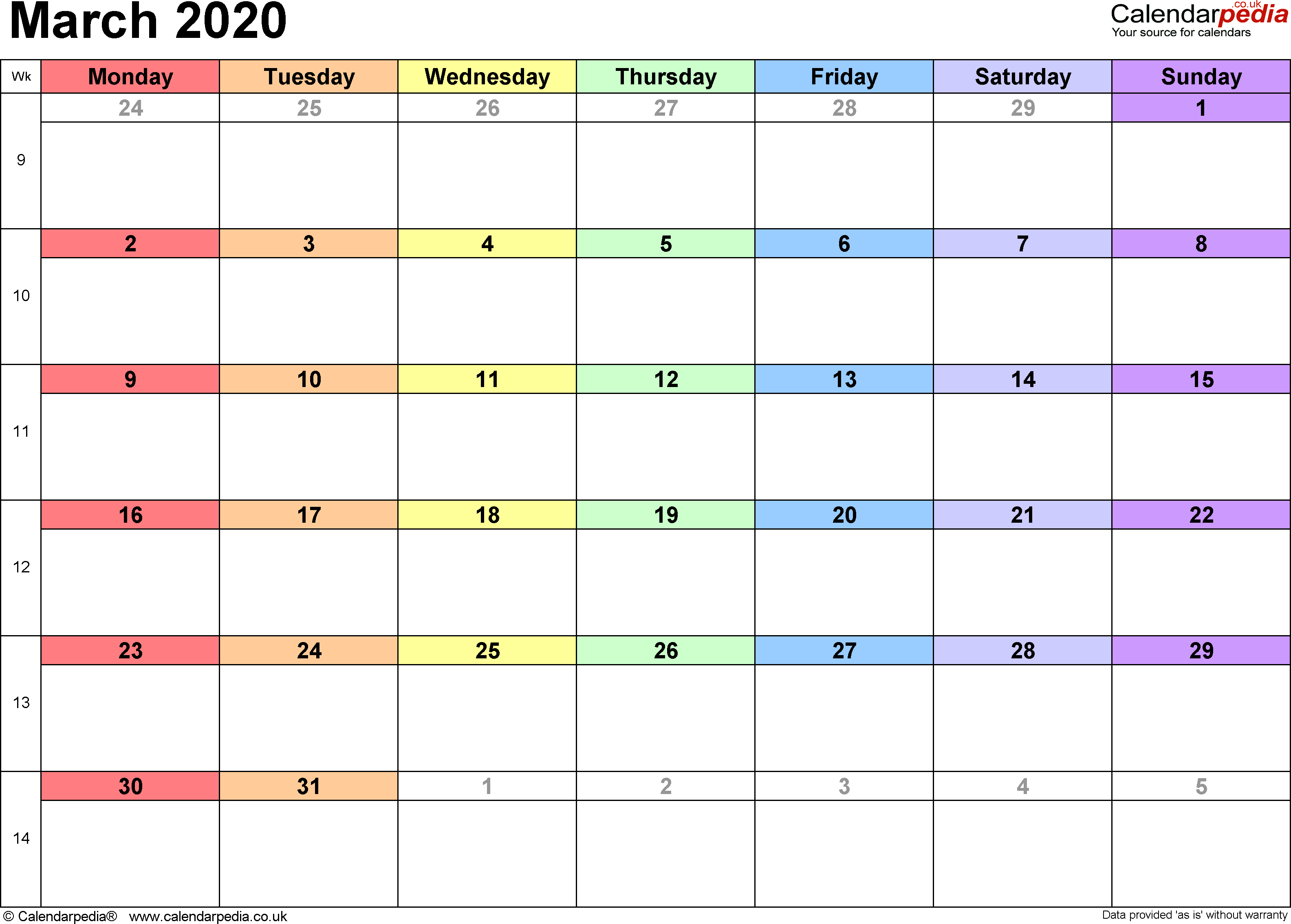 Calendar March 2020, landscape orientation, 1 page, with UK bank holidays and week numbers