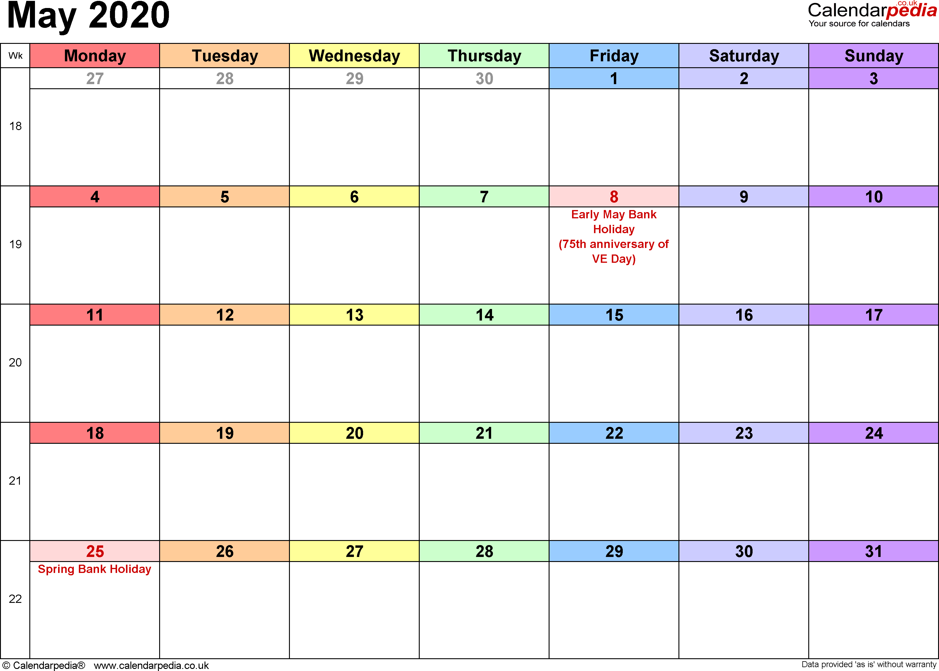 Calendar May 2020, landscape orientation, 1 page, with UK bank holidays and week numbers