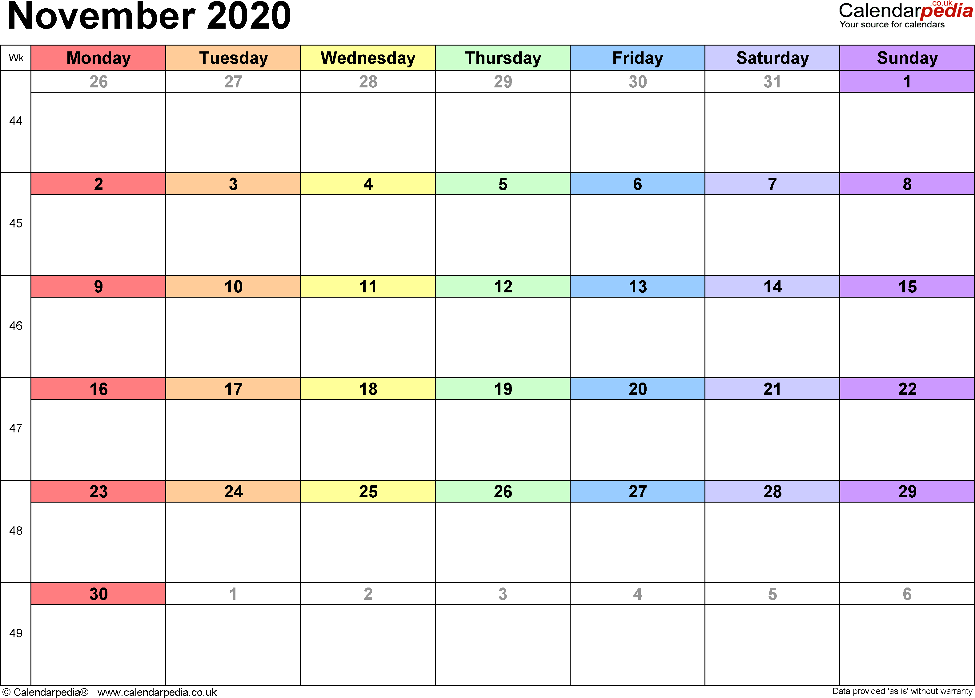 Calendar November 2020 UK, Bank Holidays, Excel/PDF/Word ...