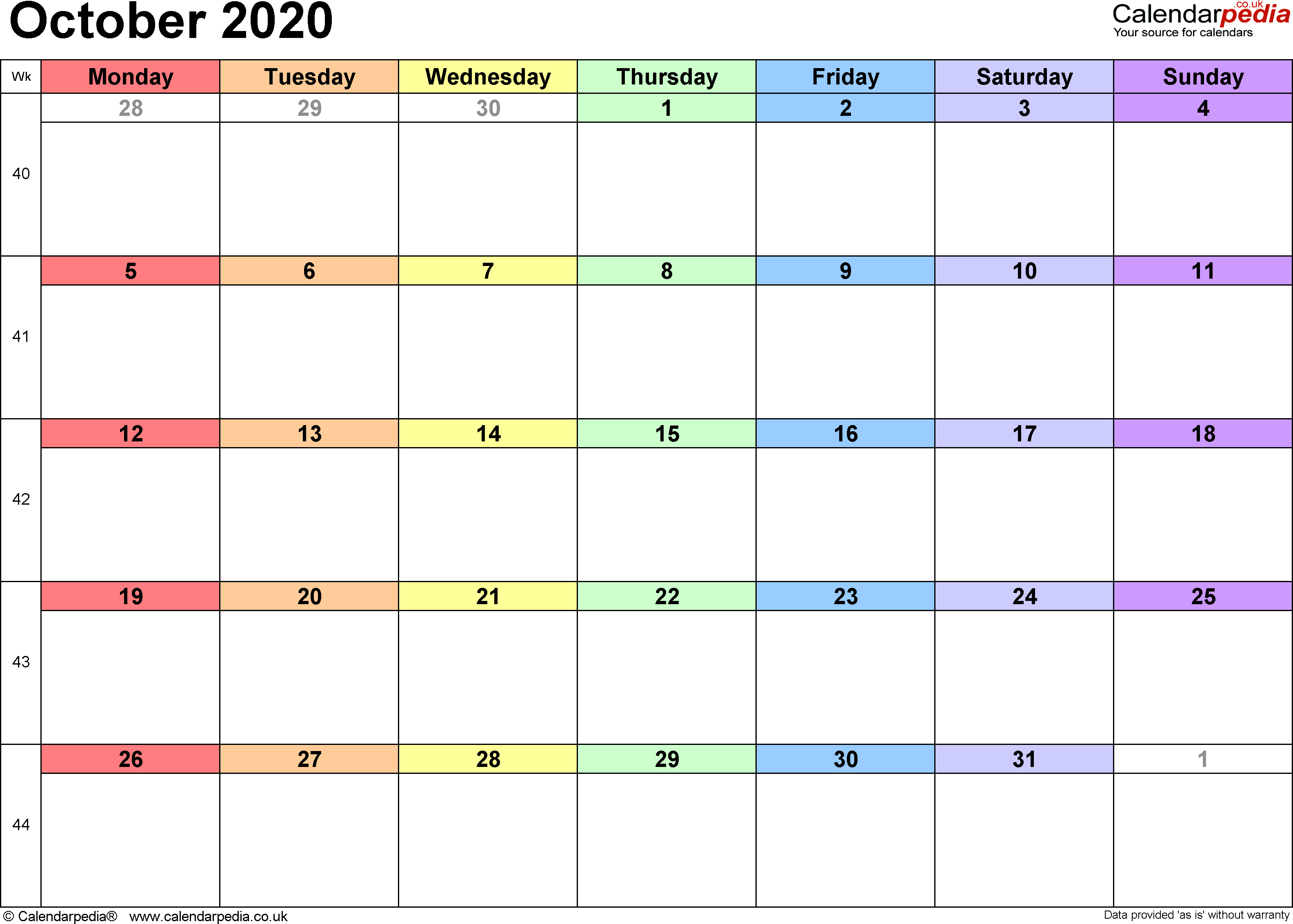 Calendar October 2020, landscape orientation, 1 page, with UK bank holidays and week numbers