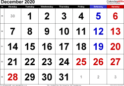 Calendar December 2020, landscape orientation, large numerals, 1 page, with UK bank holidays and week numbers