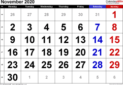 Calendar November 2020, landscape orientation, large numerals, 1 page, with UK bank holidays and week numbers