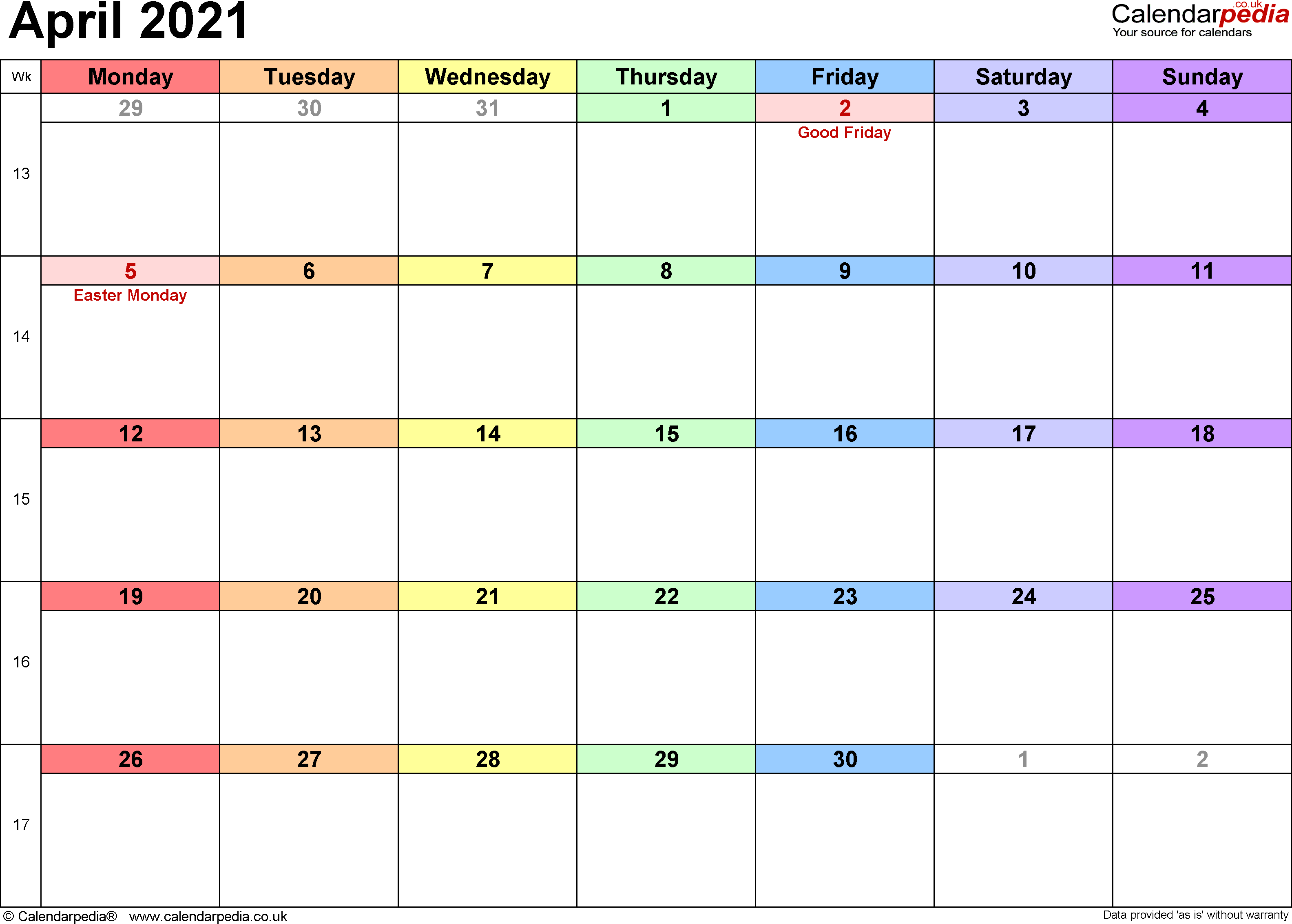 Calendar April 2021, landscape orientation, 1 page, with UK bank holidays and week numbers