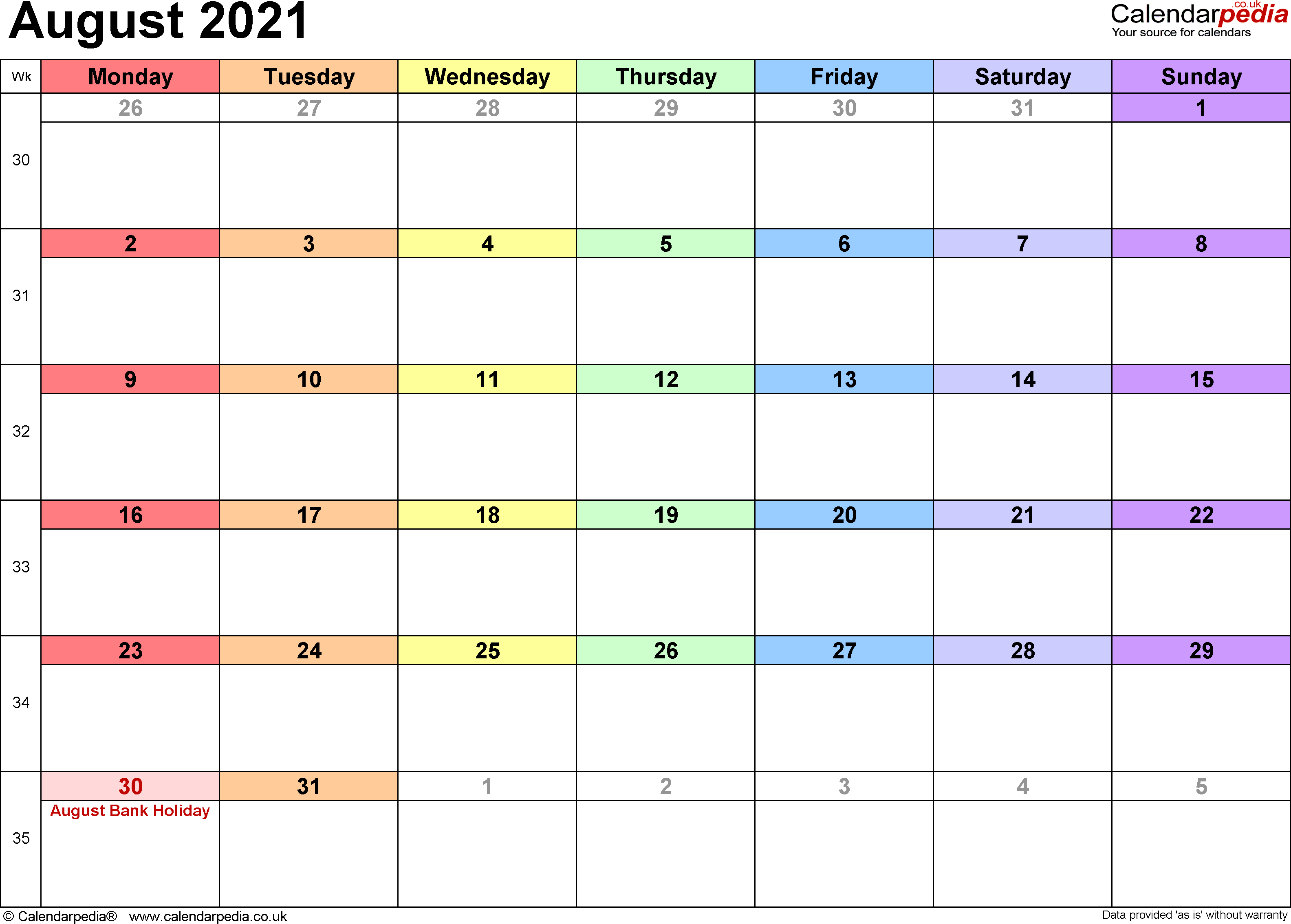 Calendar August 2021, landscape orientation, 1 page, with UK bank holidays and week numbers