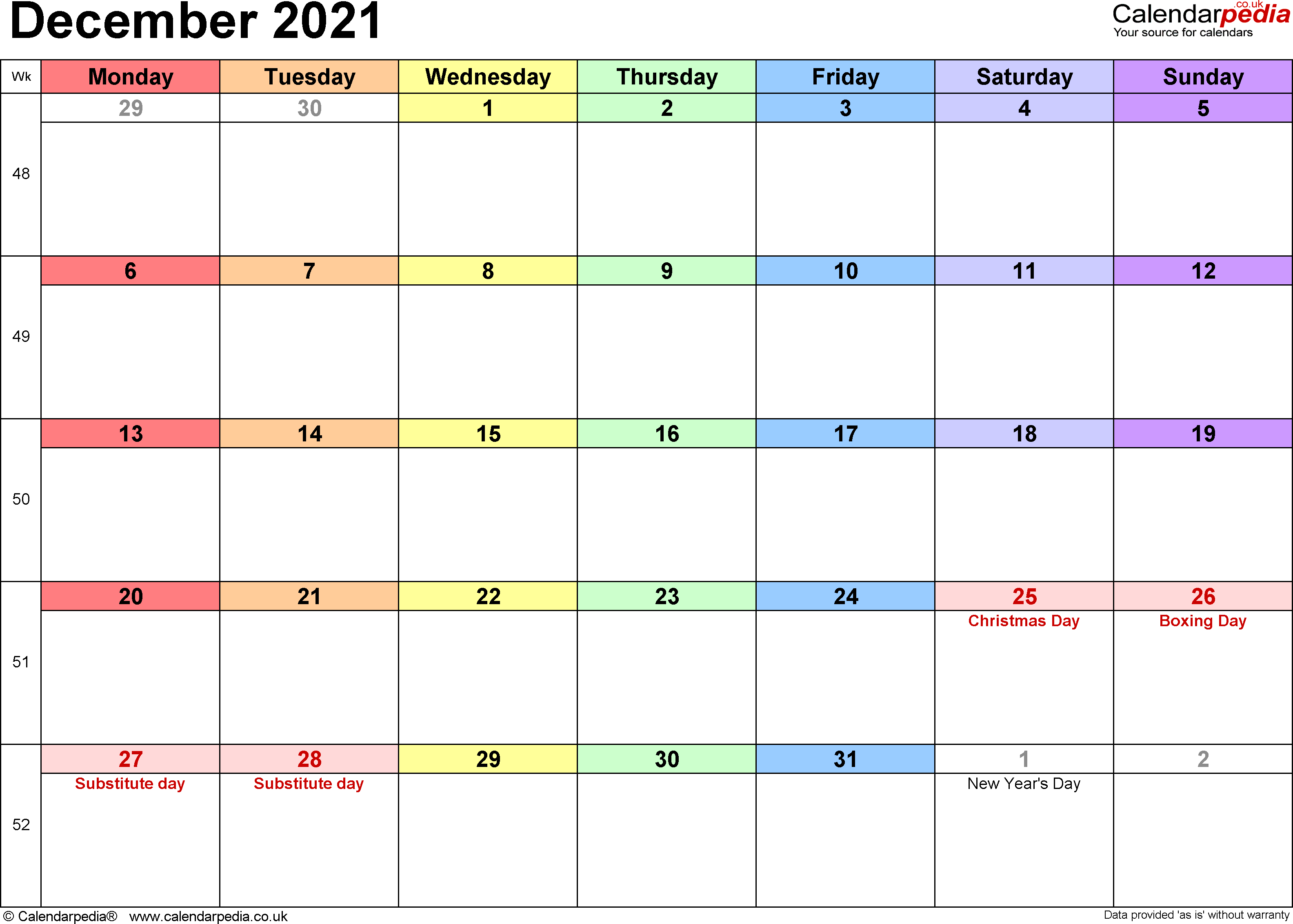 Calendar December 2021, landscape orientation, 1 page, with UK bank holidays and week numbers