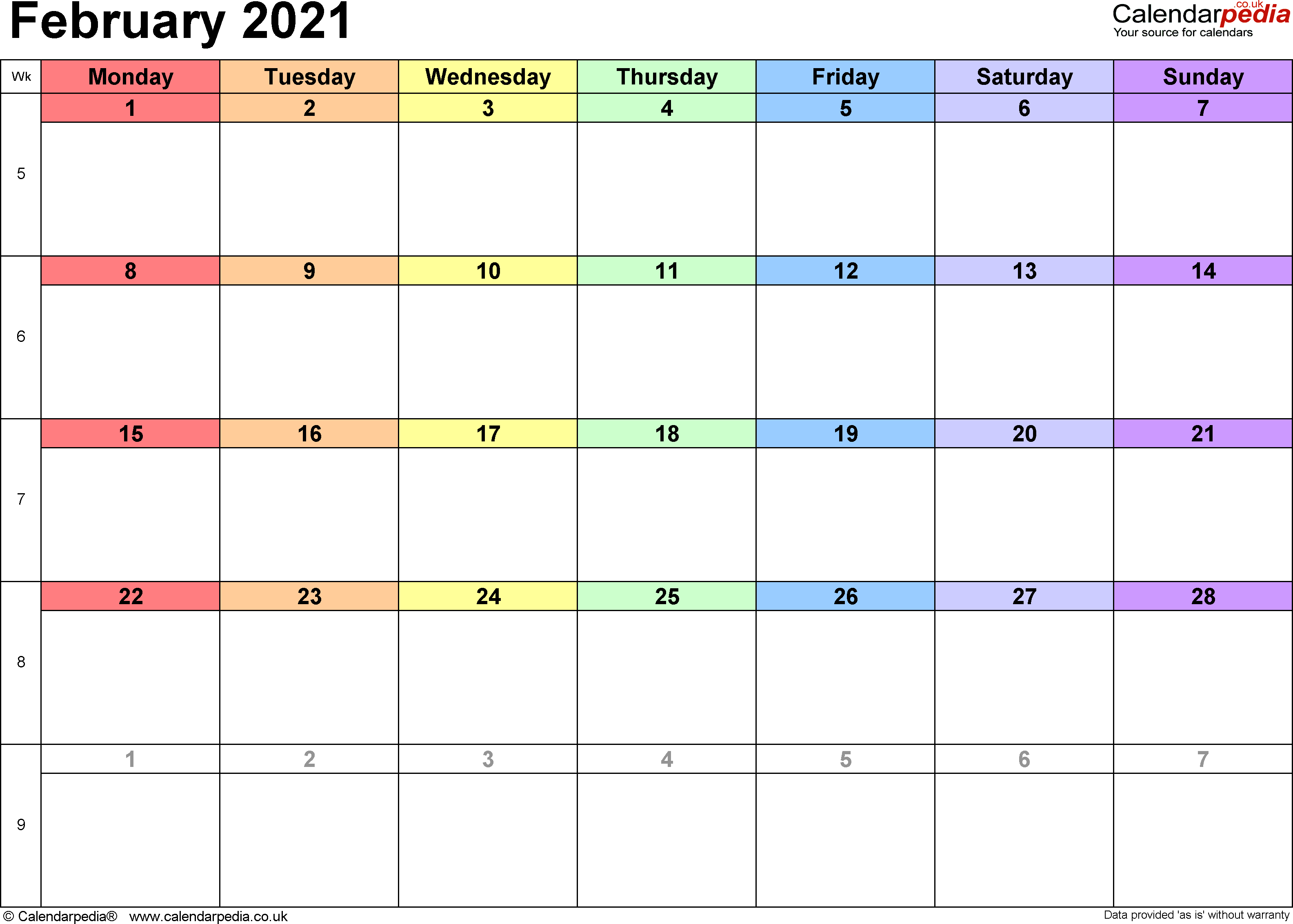 Calendar February 2021, landscape orientation, 1 page, with UK bank holidays and week numbers