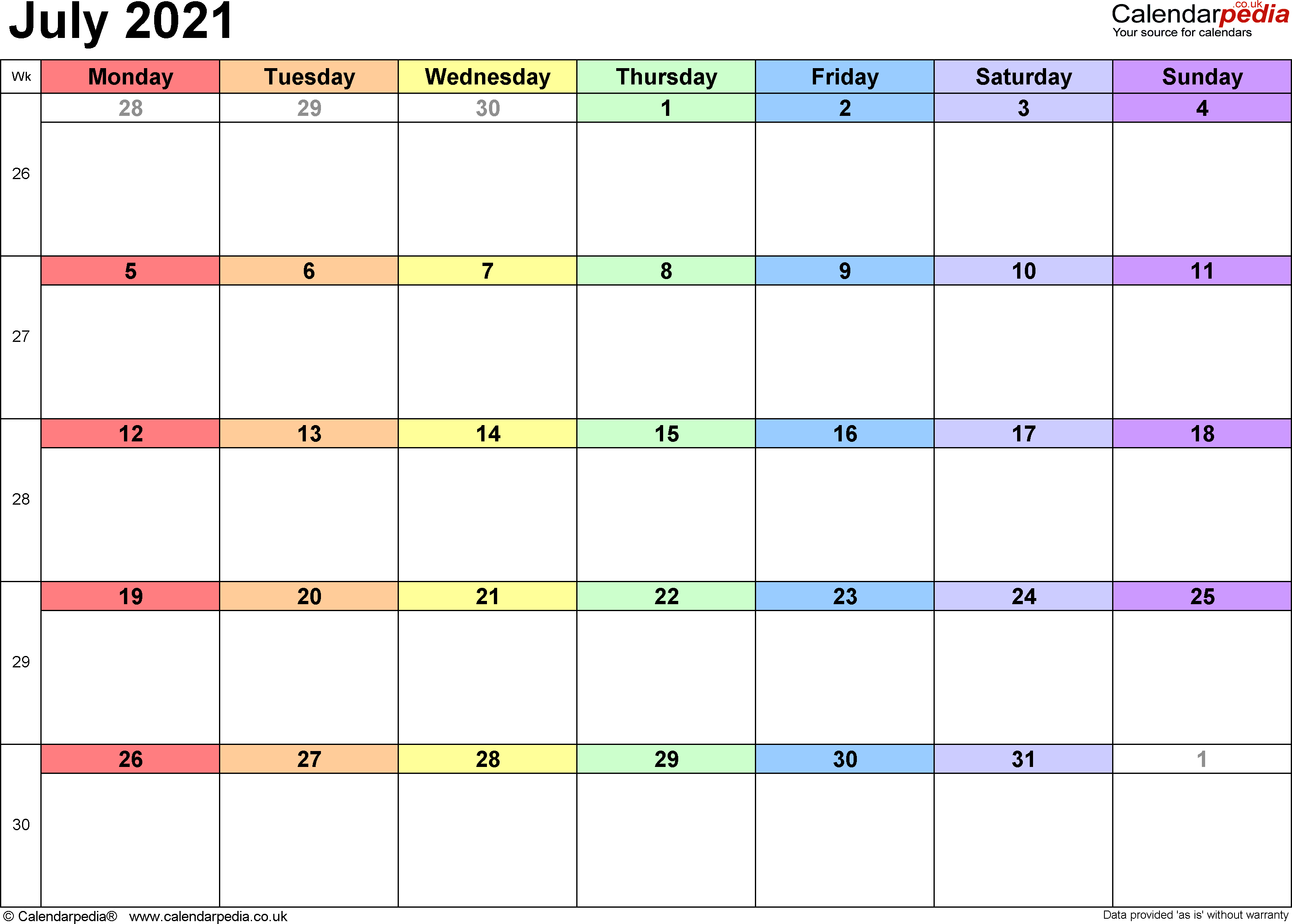Calendar July 2021 UK, Bank Holidays, Excel/PDF/Word Templates