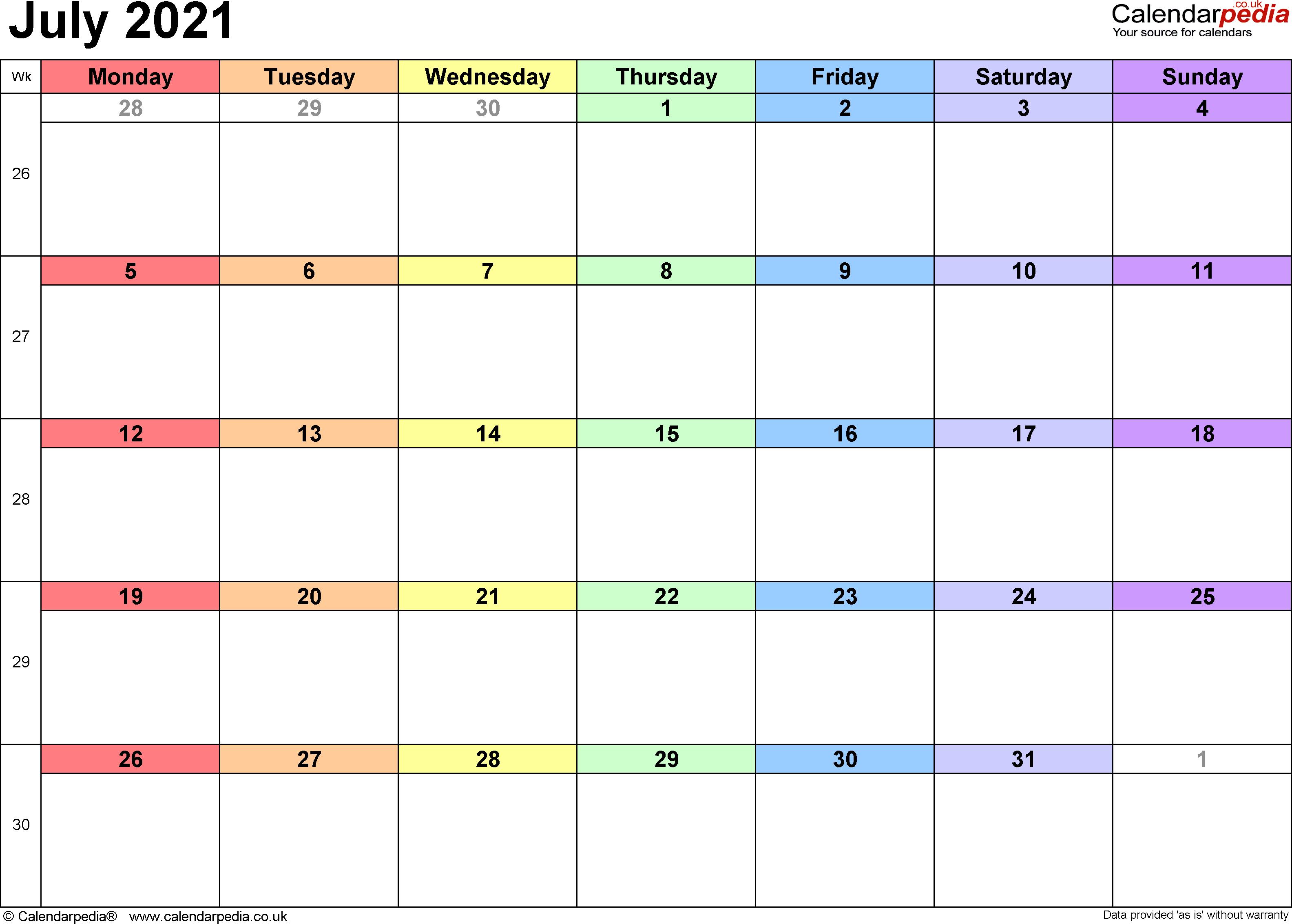 Calendar July 2021 UK, Bank Holidays, Excel/PDF/Word Templates