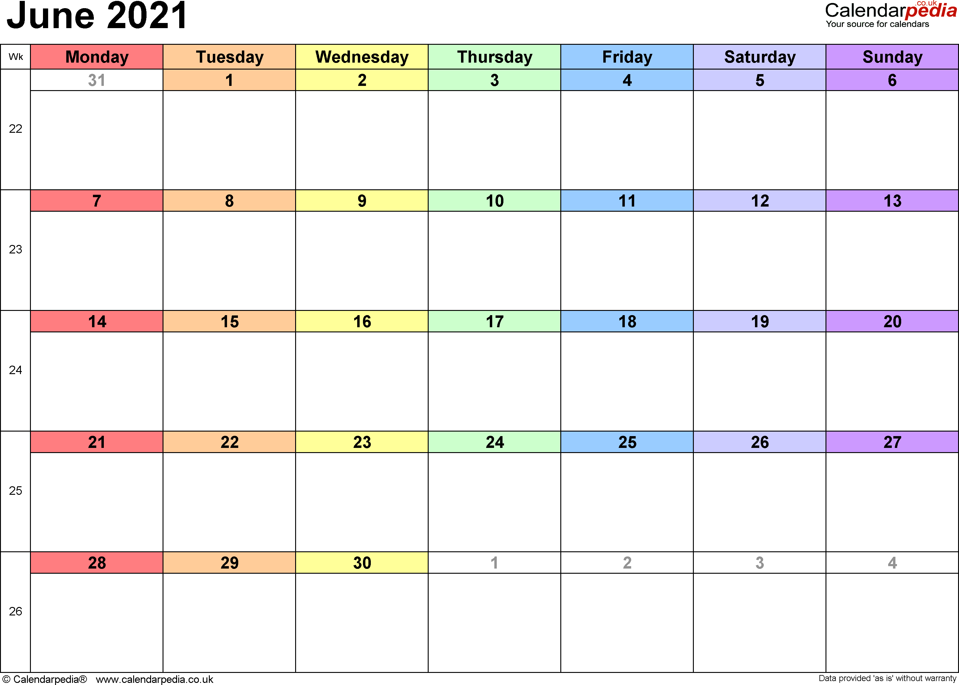 Calendar June 2021, landscape orientation, 1 page, with UK bank holidays and week numbers