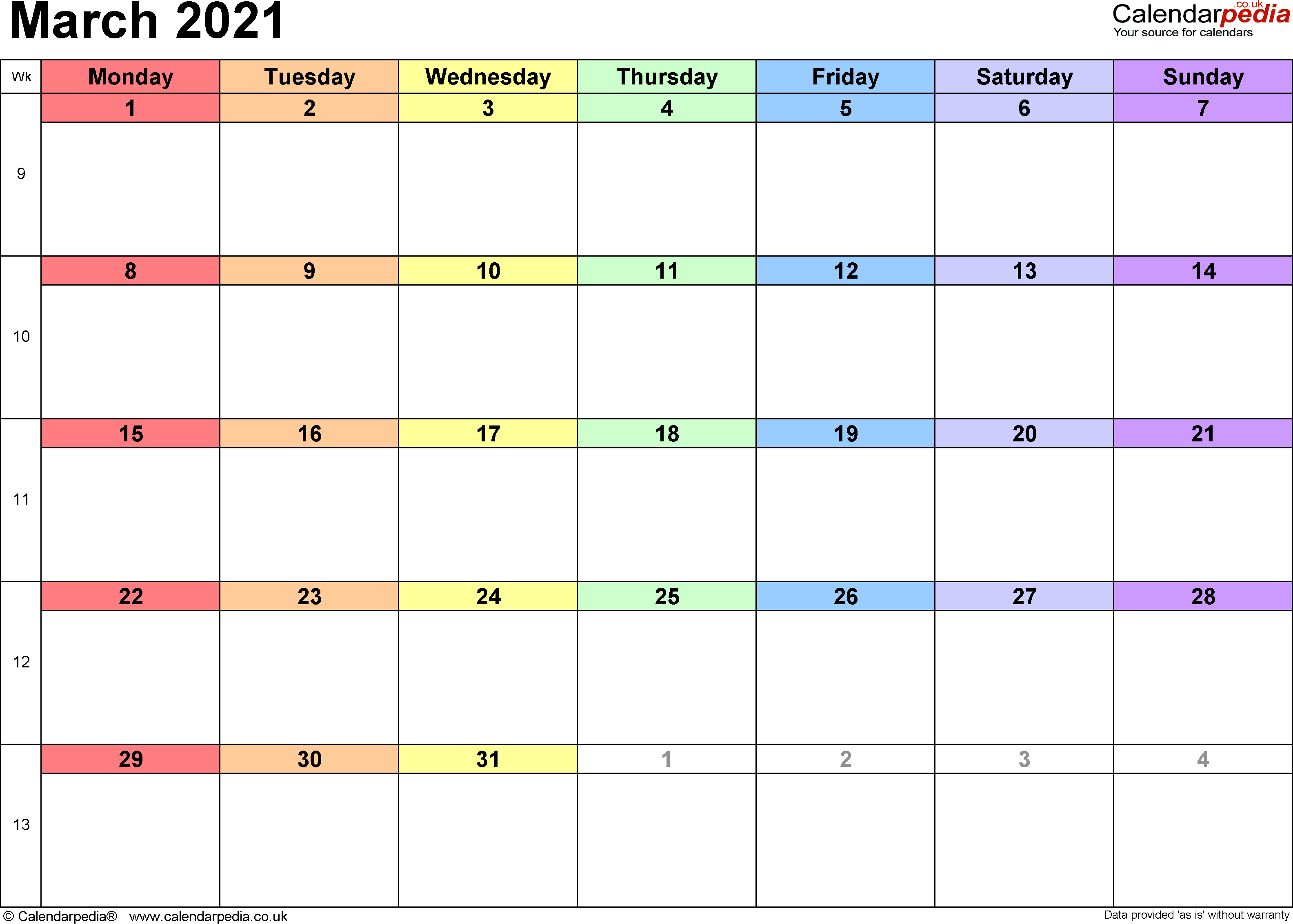 Calendar March 2021, landscape orientation, 1 page, with UK bank holidays and week numbers
