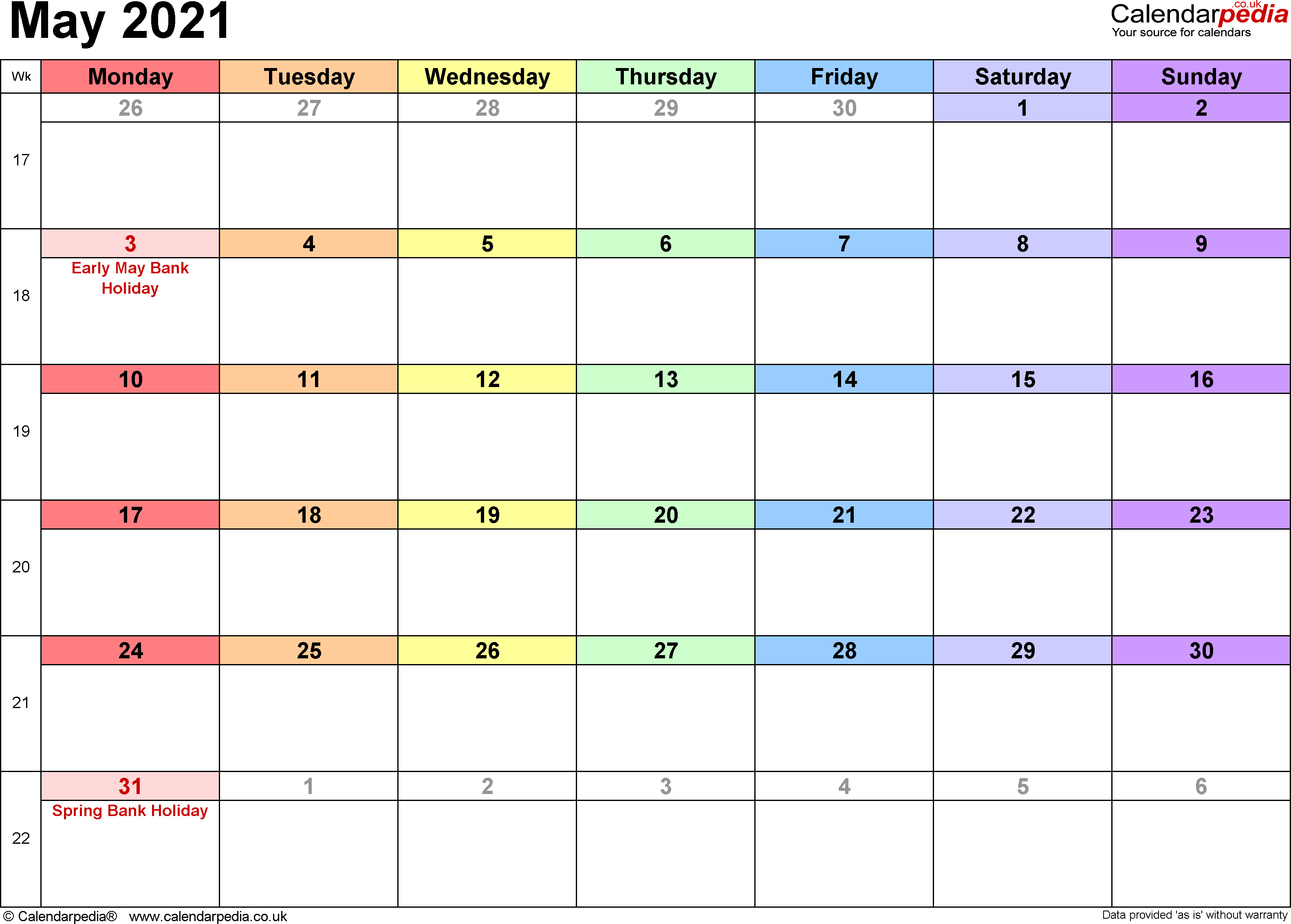 Calendar May 2021, landscape orientation, 1 page, with UK bank holidays and week numbers