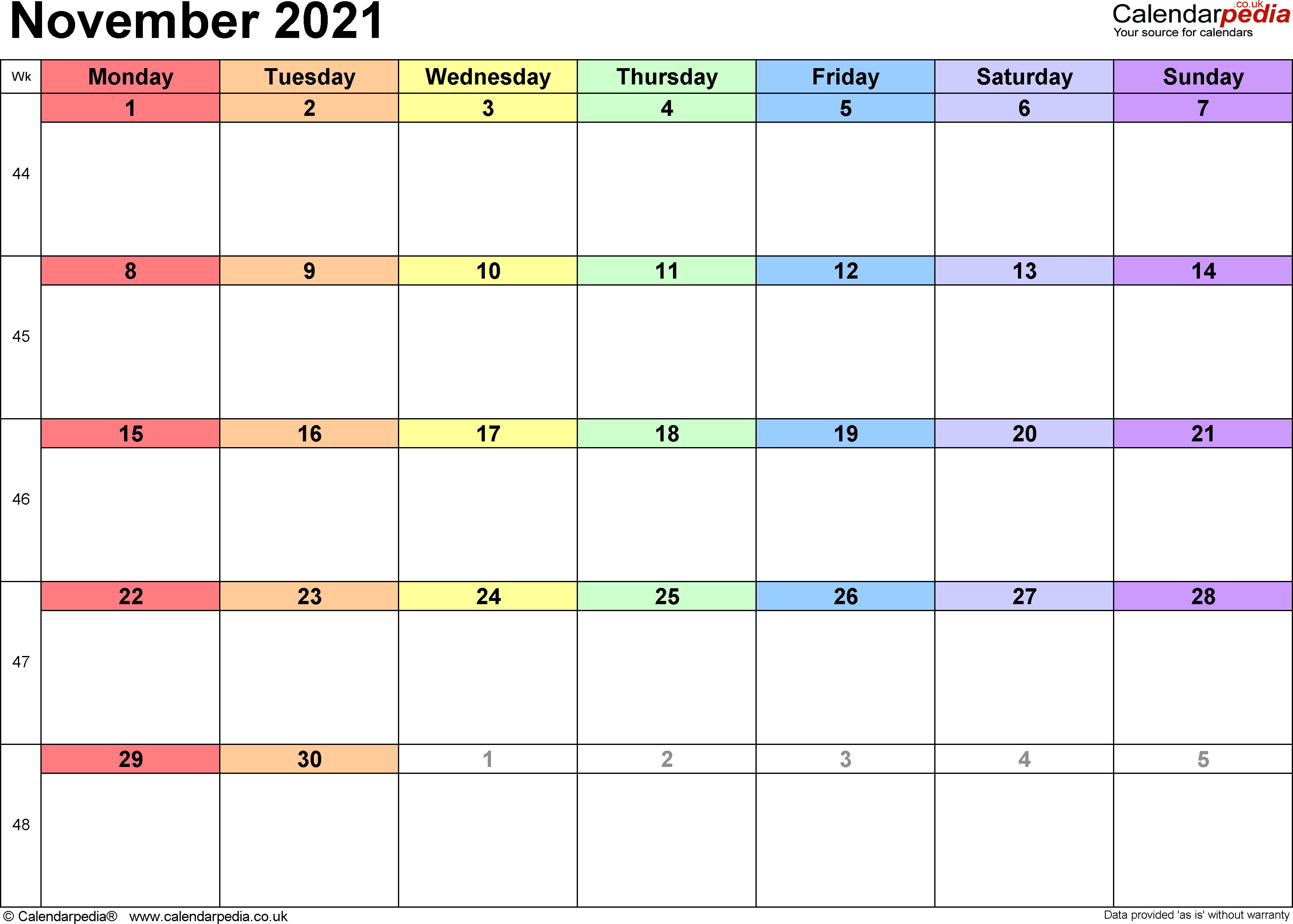 Calendar November 2021, landscape orientation, 1 page, with UK bank holidays and week numbers