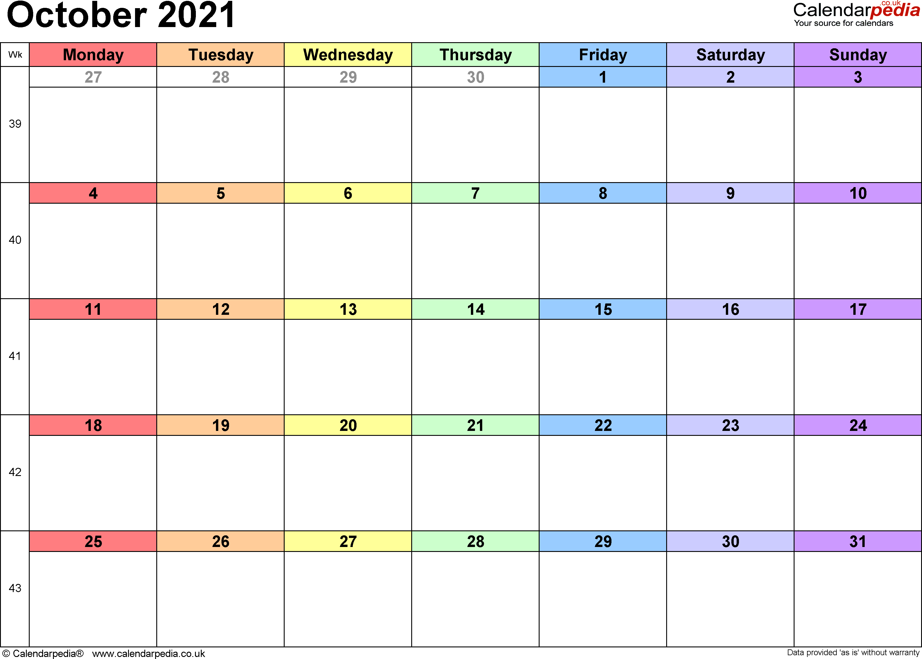 Calendar October 2021, landscape orientation, 1 page, with UK bank holidays and week numbers