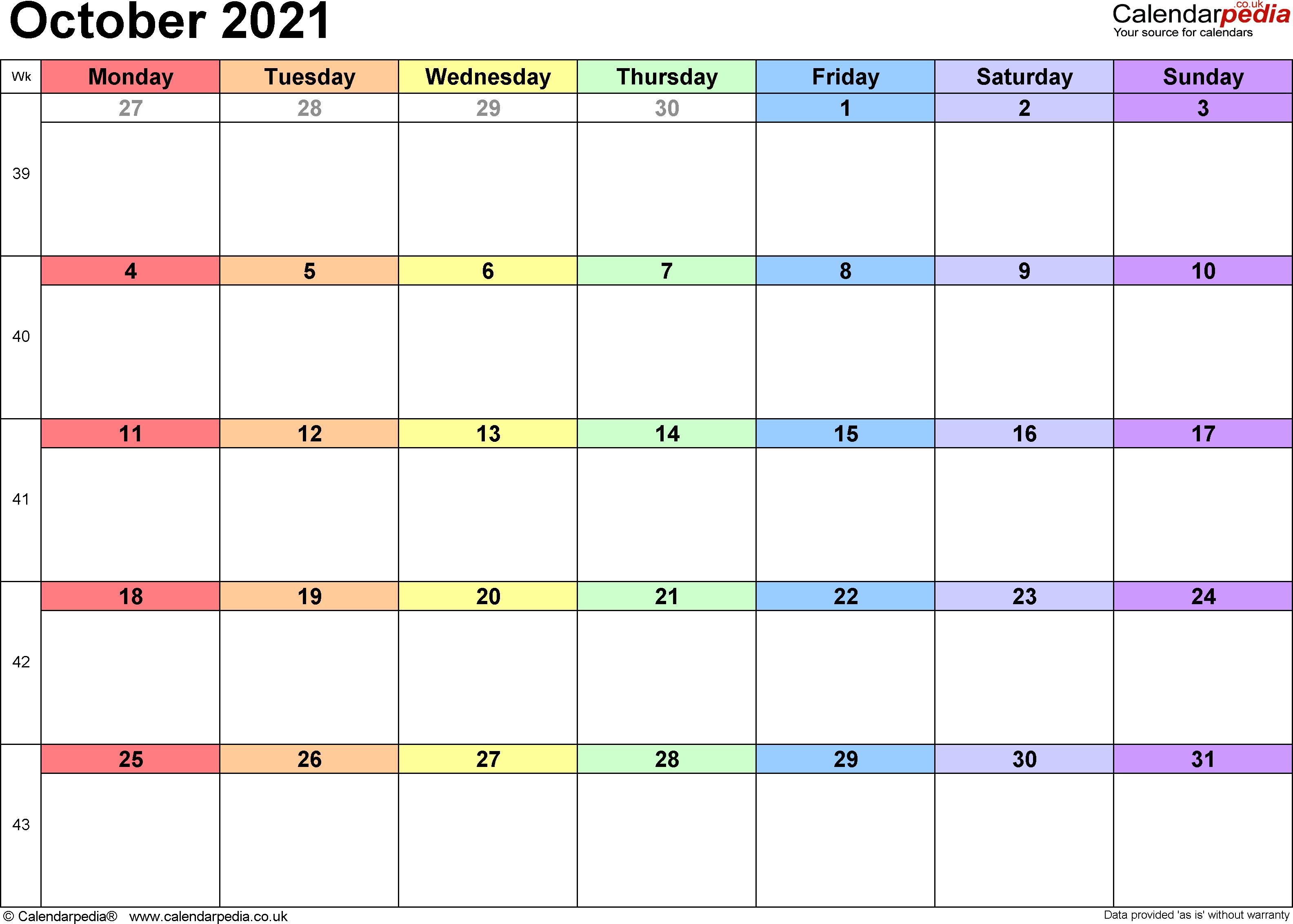 Calendar October 2021 UK, Bank Holidays, Excel/PDF/Word ...